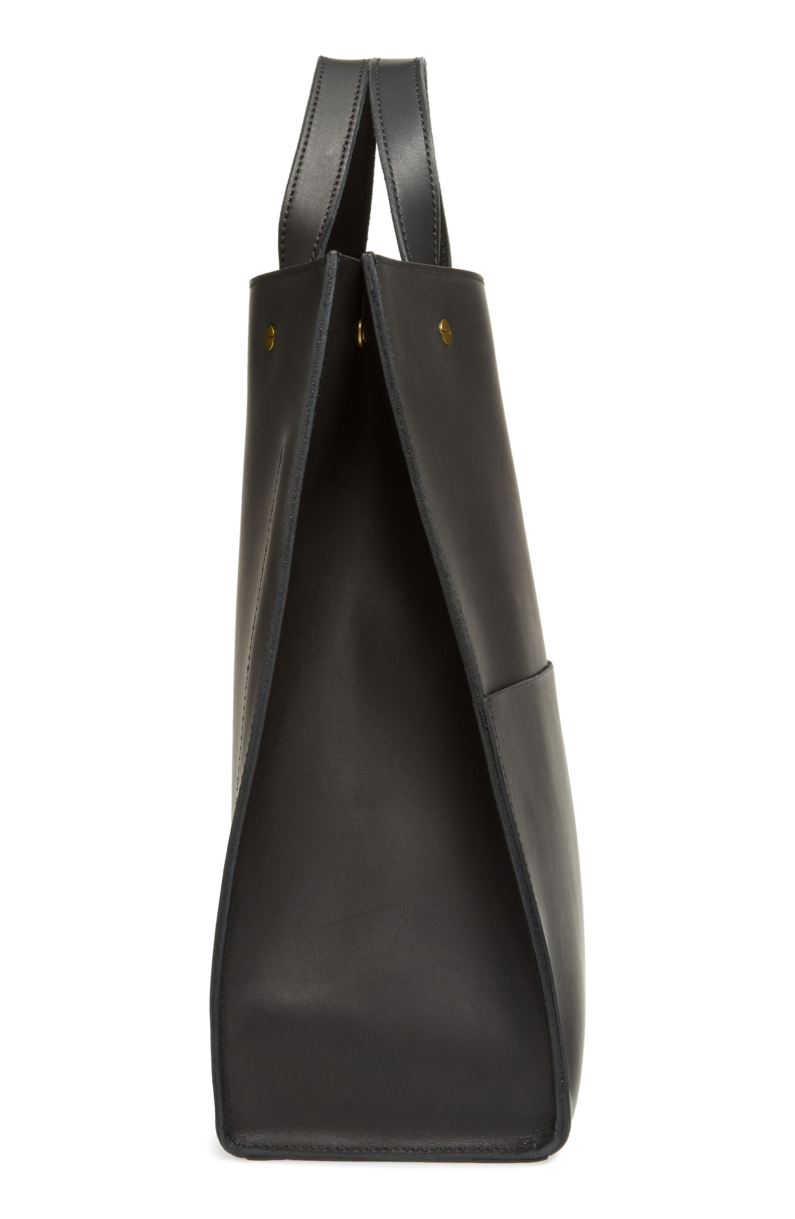 The Passenger Convertible Leather Tote,                             Alternate thumbnail 5, color,                             001