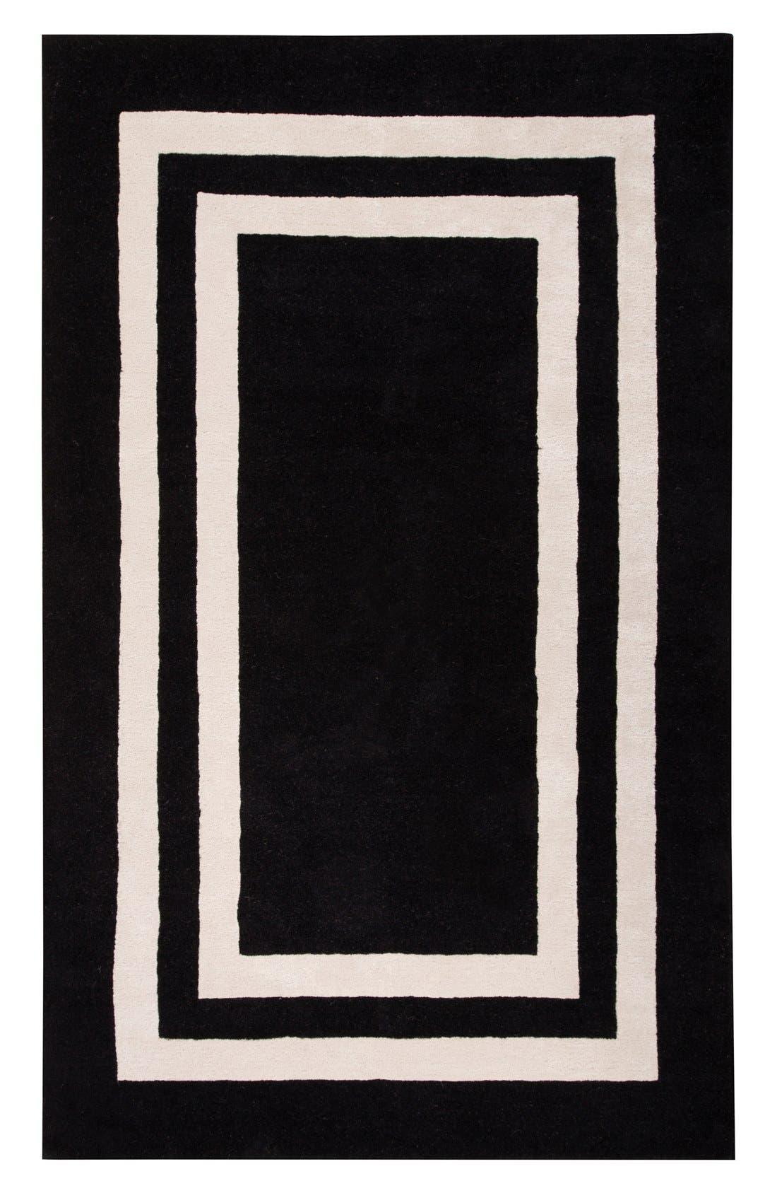 'gramercy - border pattern' wool blend rug,                             Alternate thumbnail 4, color,                             001