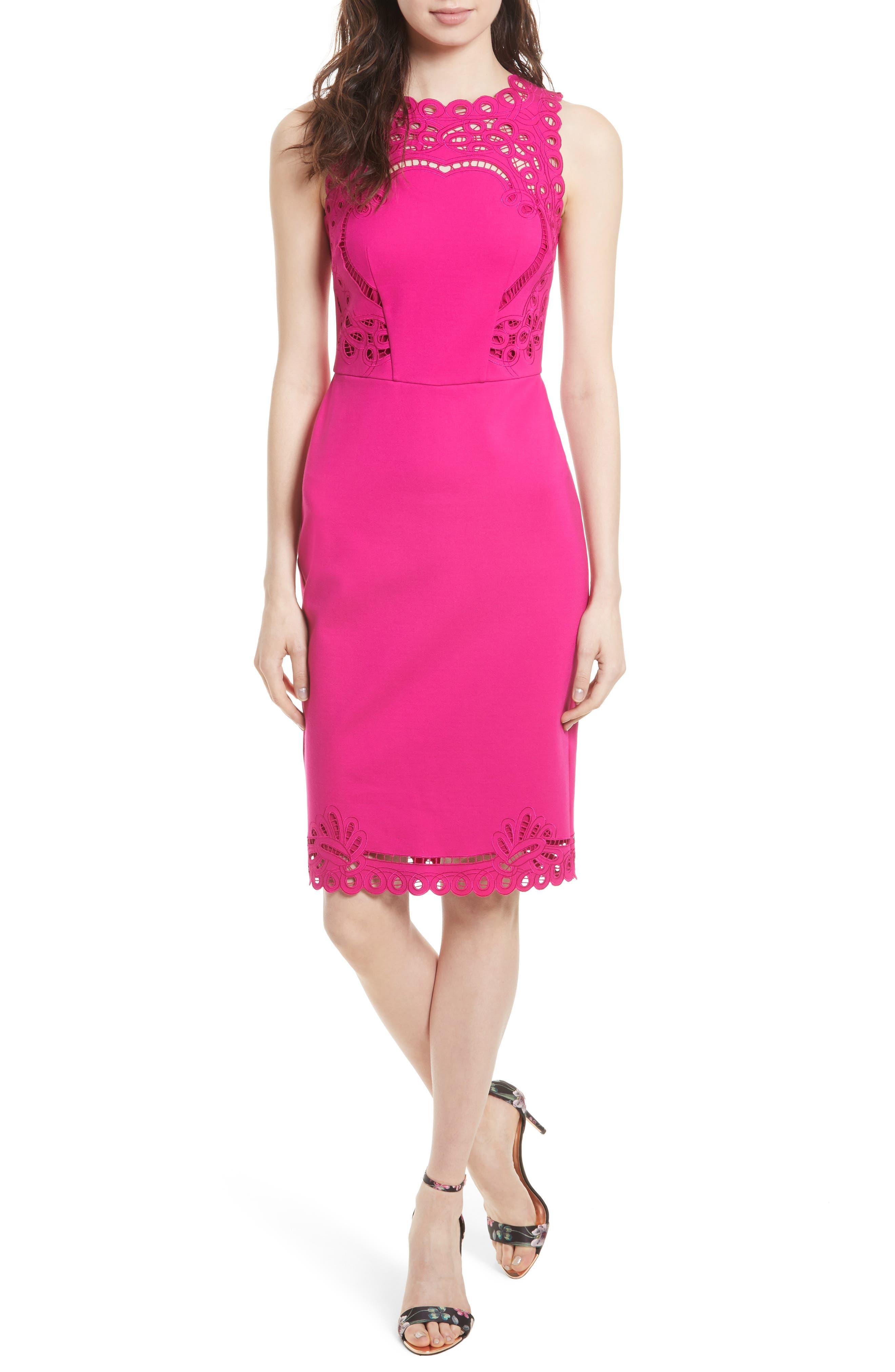 Verita Cutout Yoke Sheath Dress,                             Main thumbnail 3, color,
