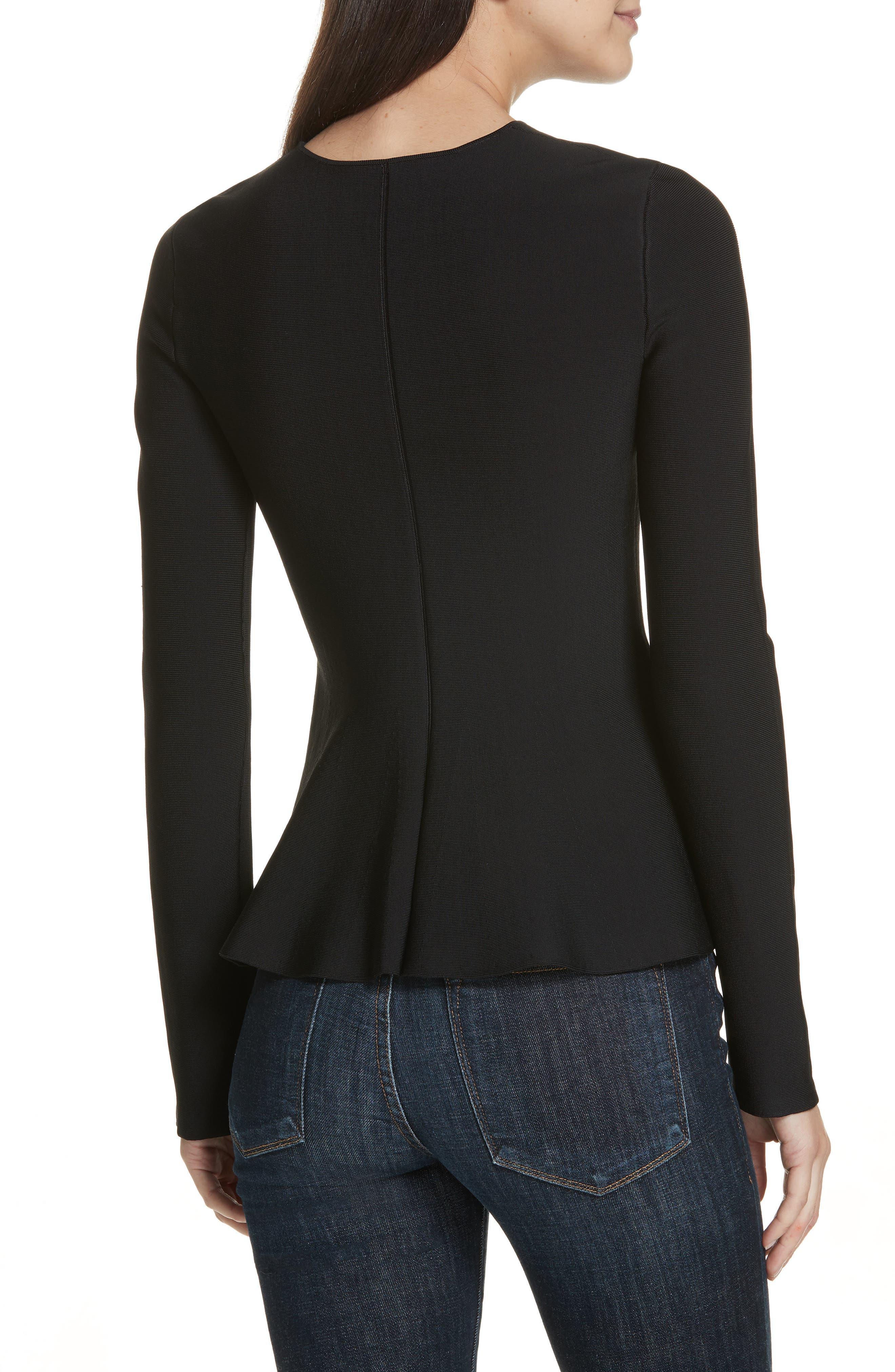 Glossed Peplum Sweater,                             Alternate thumbnail 2, color,                             BLACK