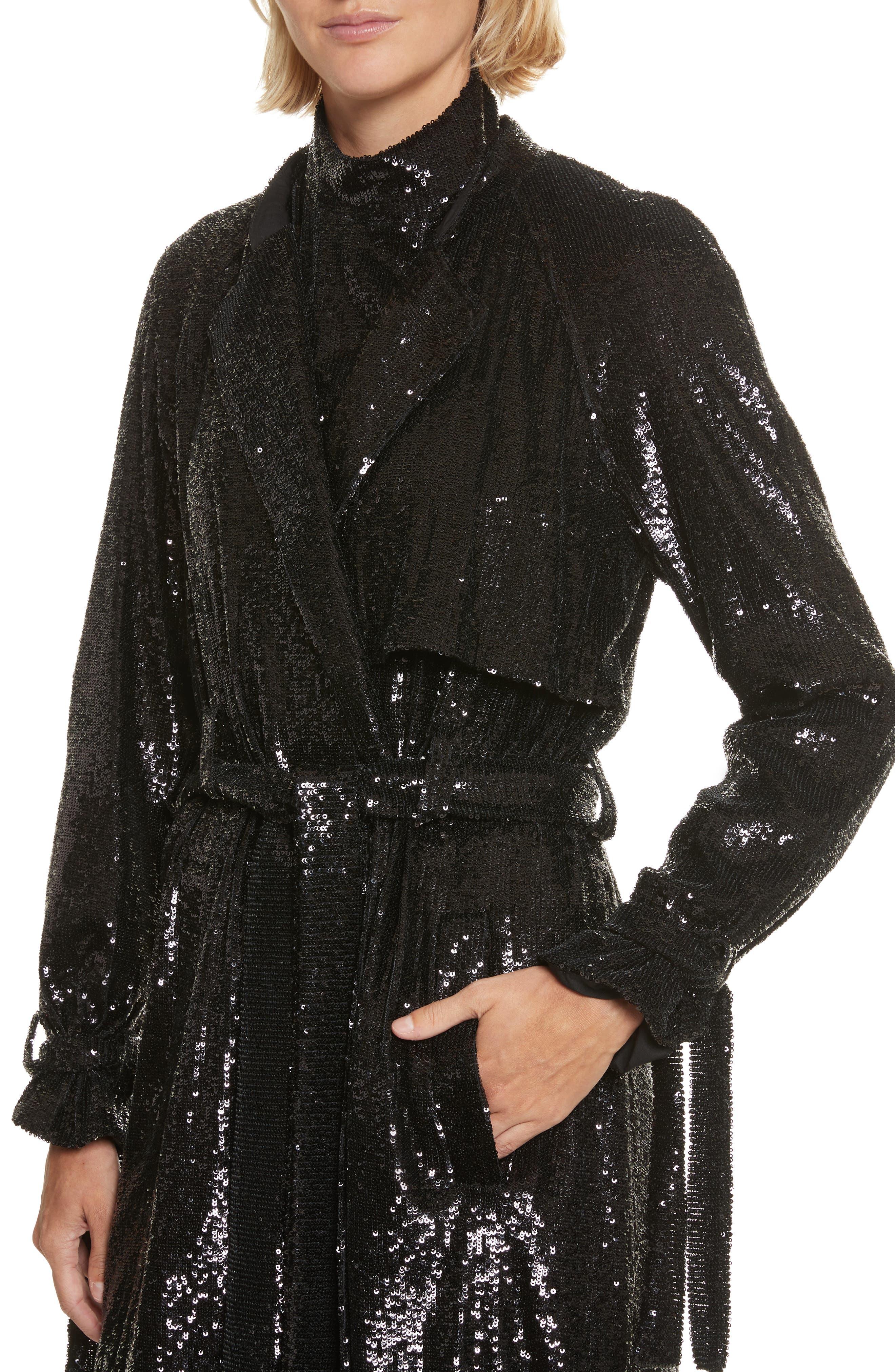 Holloway Sequin Coat,                             Alternate thumbnail 4, color,                             001