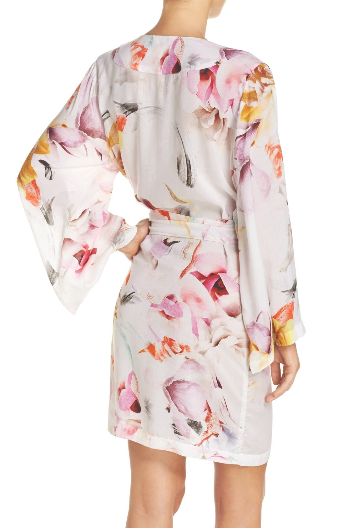 Floral Print Kimono Robe,                             Alternate thumbnail 3, color,                             100
