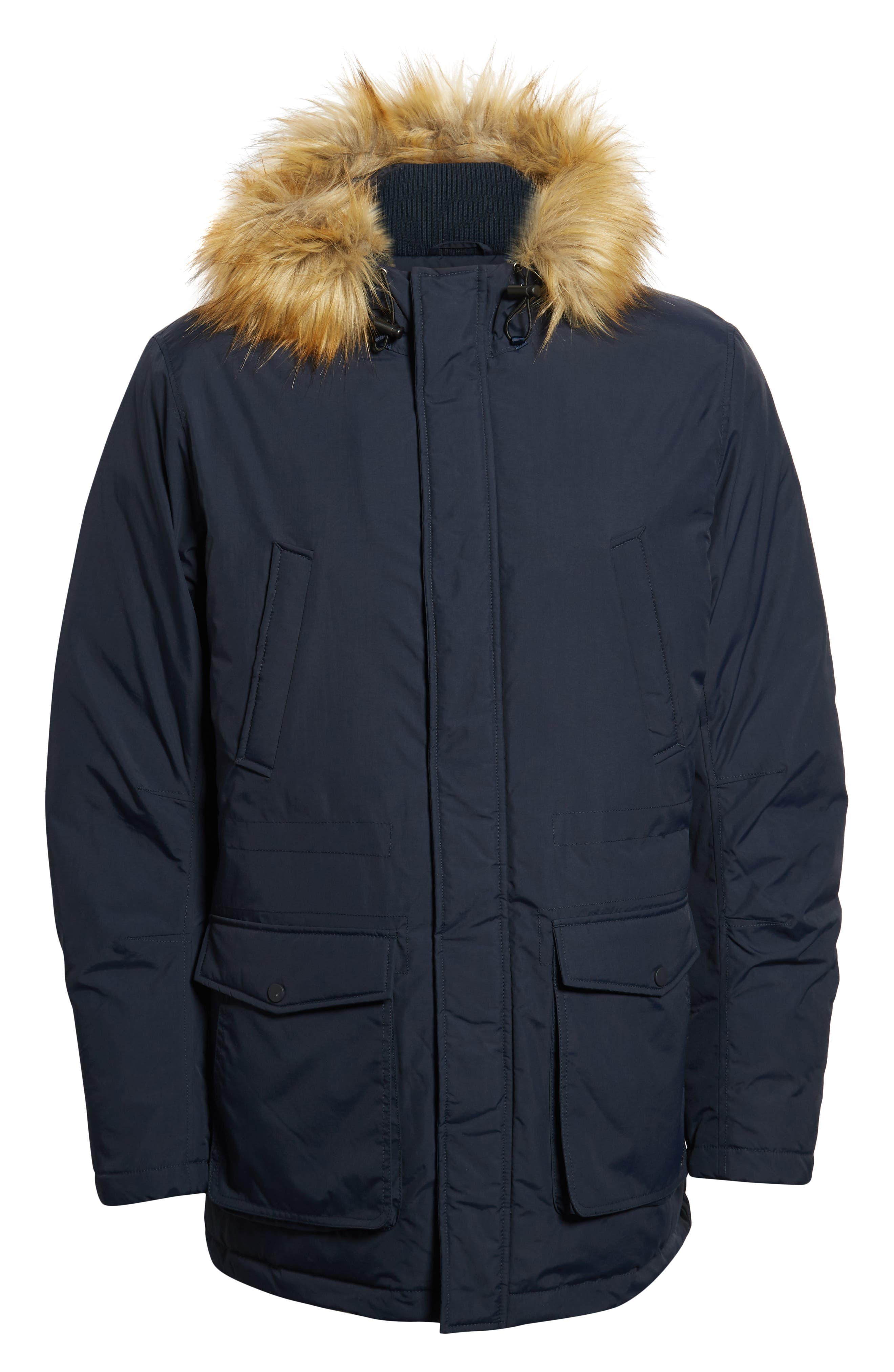 Insulated Parka with Faux Fur Trim,                             Alternate thumbnail 3, color,                             DARK SAPPHIRE