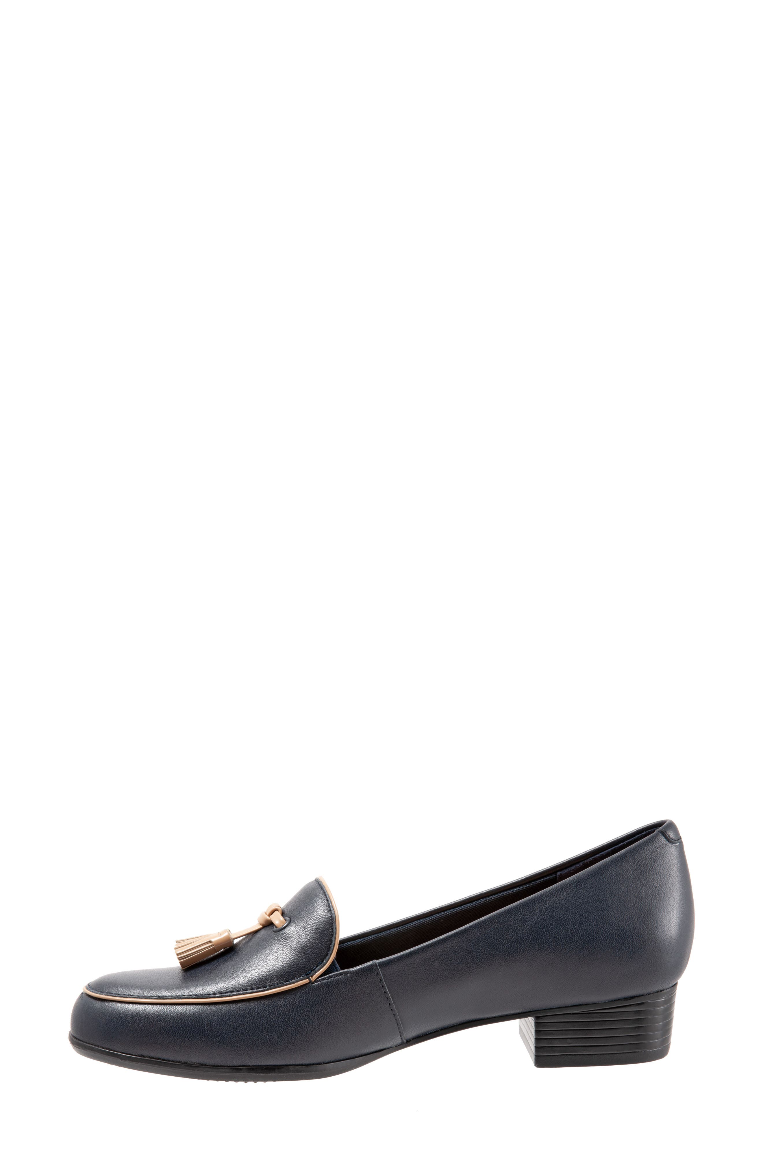 TROTTERS,                             Mary Tassel Loafer,                             Alternate thumbnail 8, color,                             NAVY LEATHER