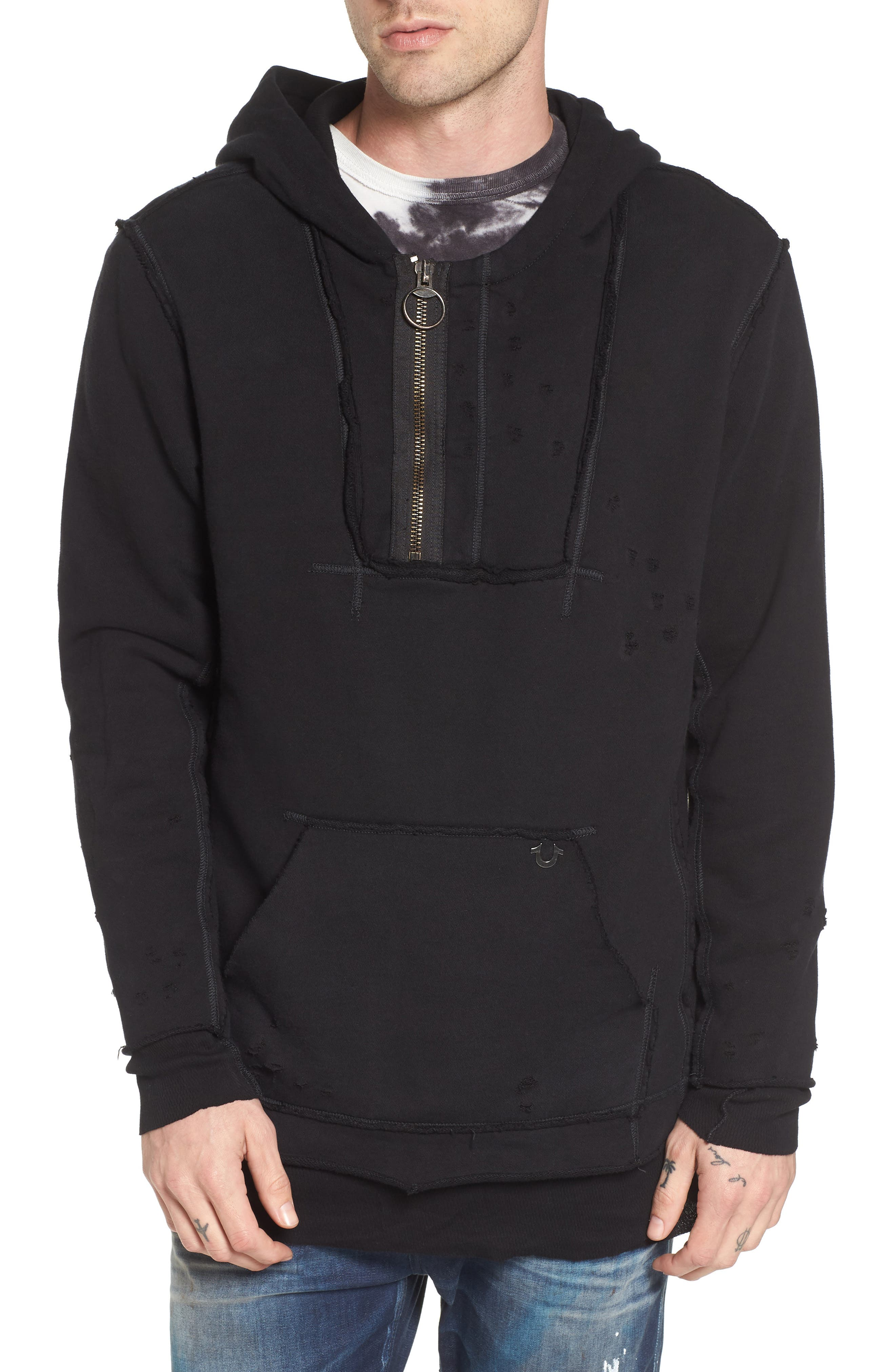 Distressed Pullover Hoodie,                             Main thumbnail 1, color,                             001