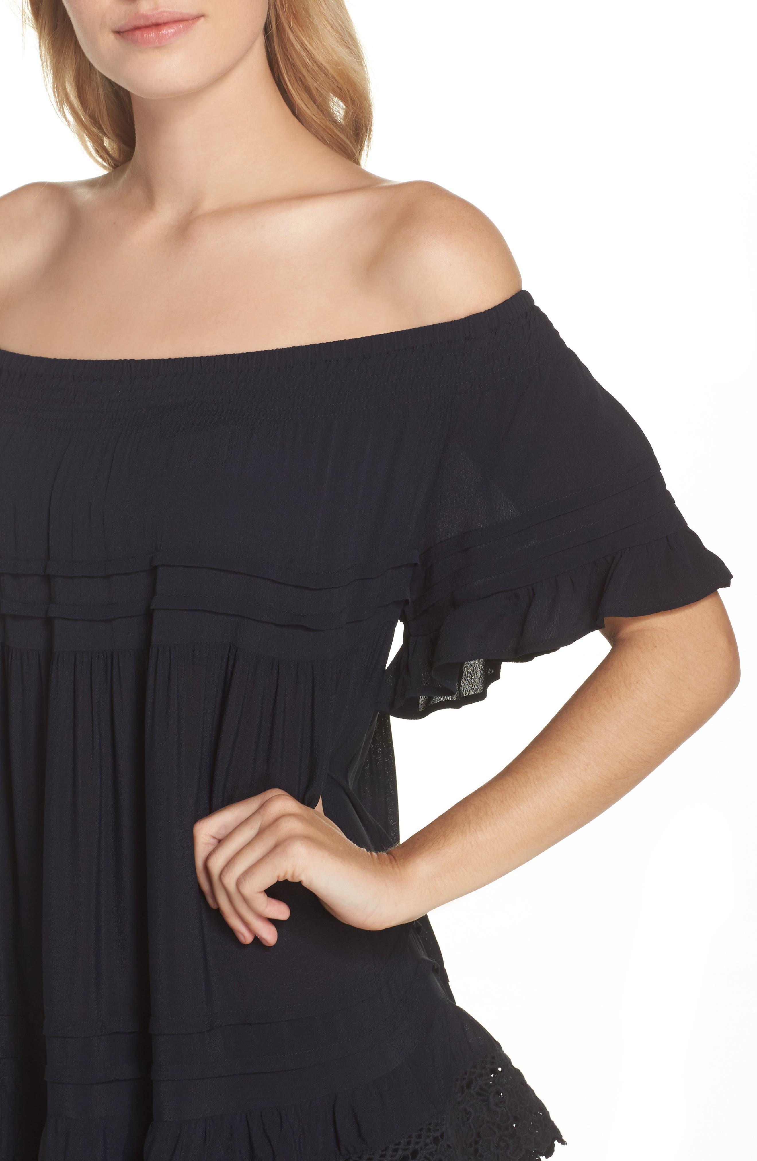 Esmerelda Off the Shoulder Cover-Up Maxi Dress,                             Alternate thumbnail 7, color,