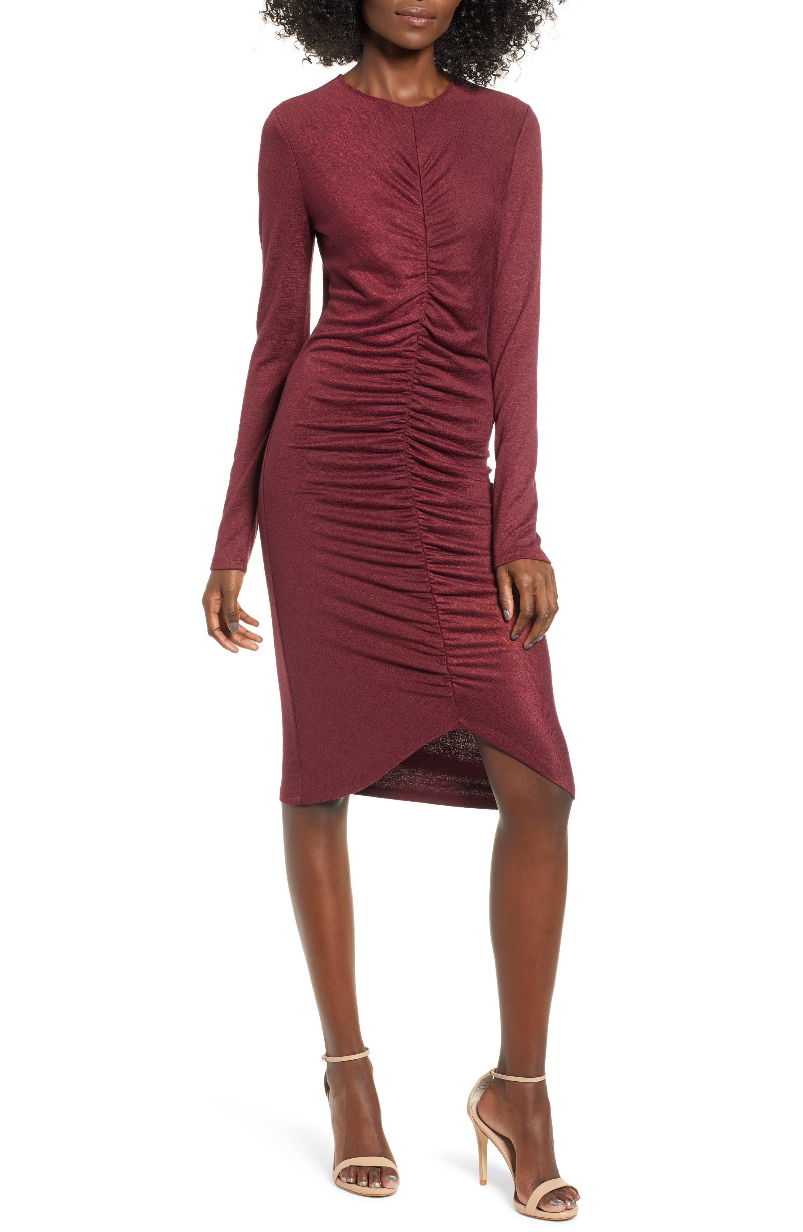 Leith Ruched Front Dress, Red