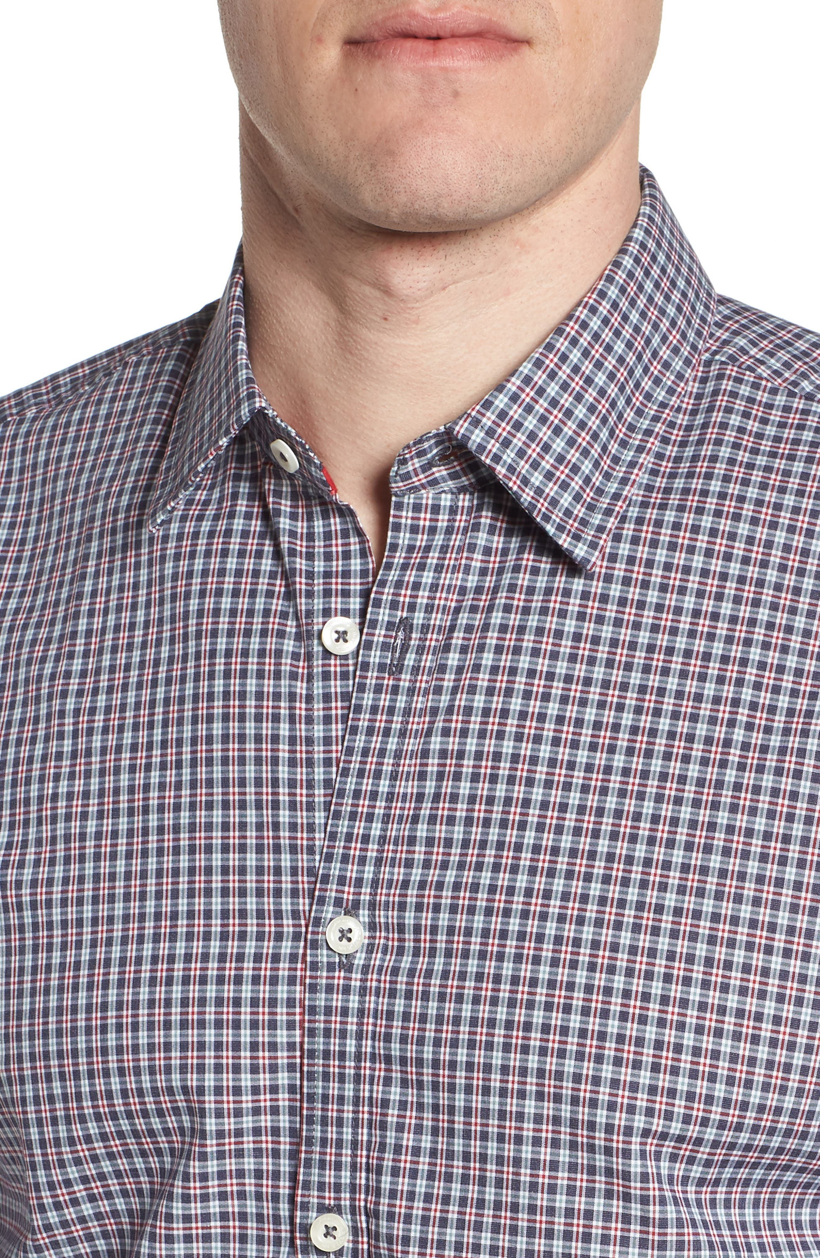 Slim Fit Check Sport Shirt,                             Alternate thumbnail 4, color,                             031
