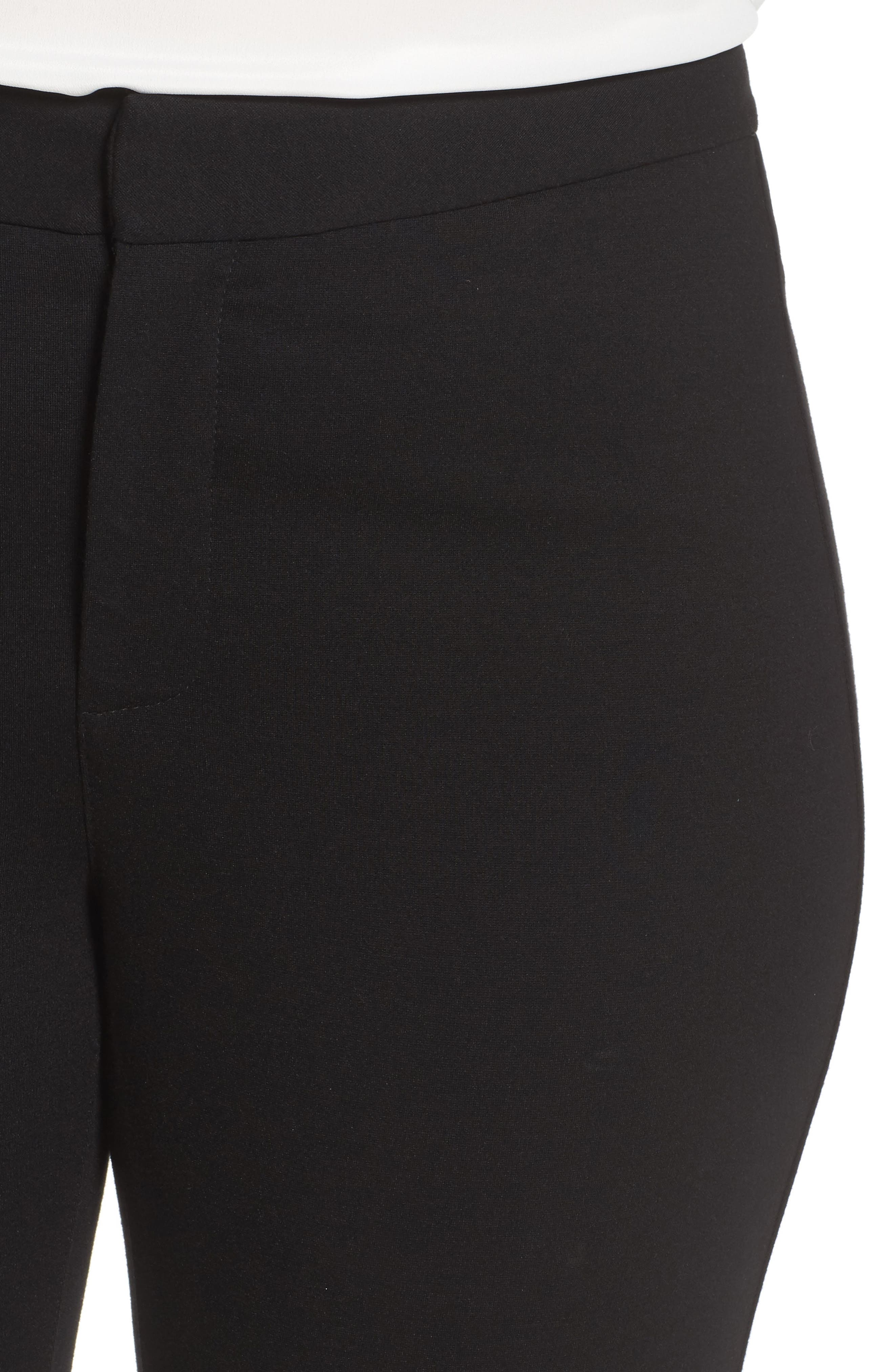Stretch Knit Straight Leg Trousers,                             Alternate thumbnail 4, color,                             BLACK