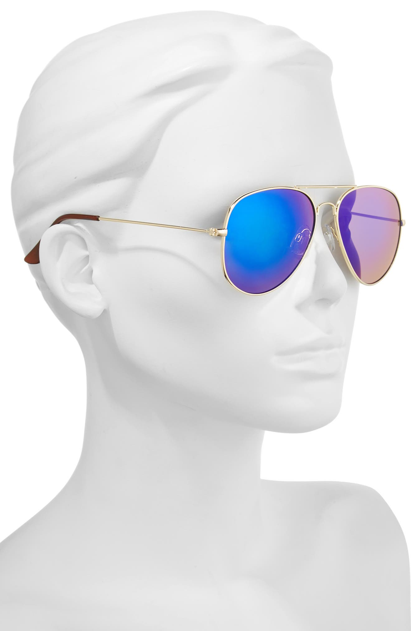 Mirrored Aviator 57mm Sunglasses,                             Alternate thumbnail 27, color,