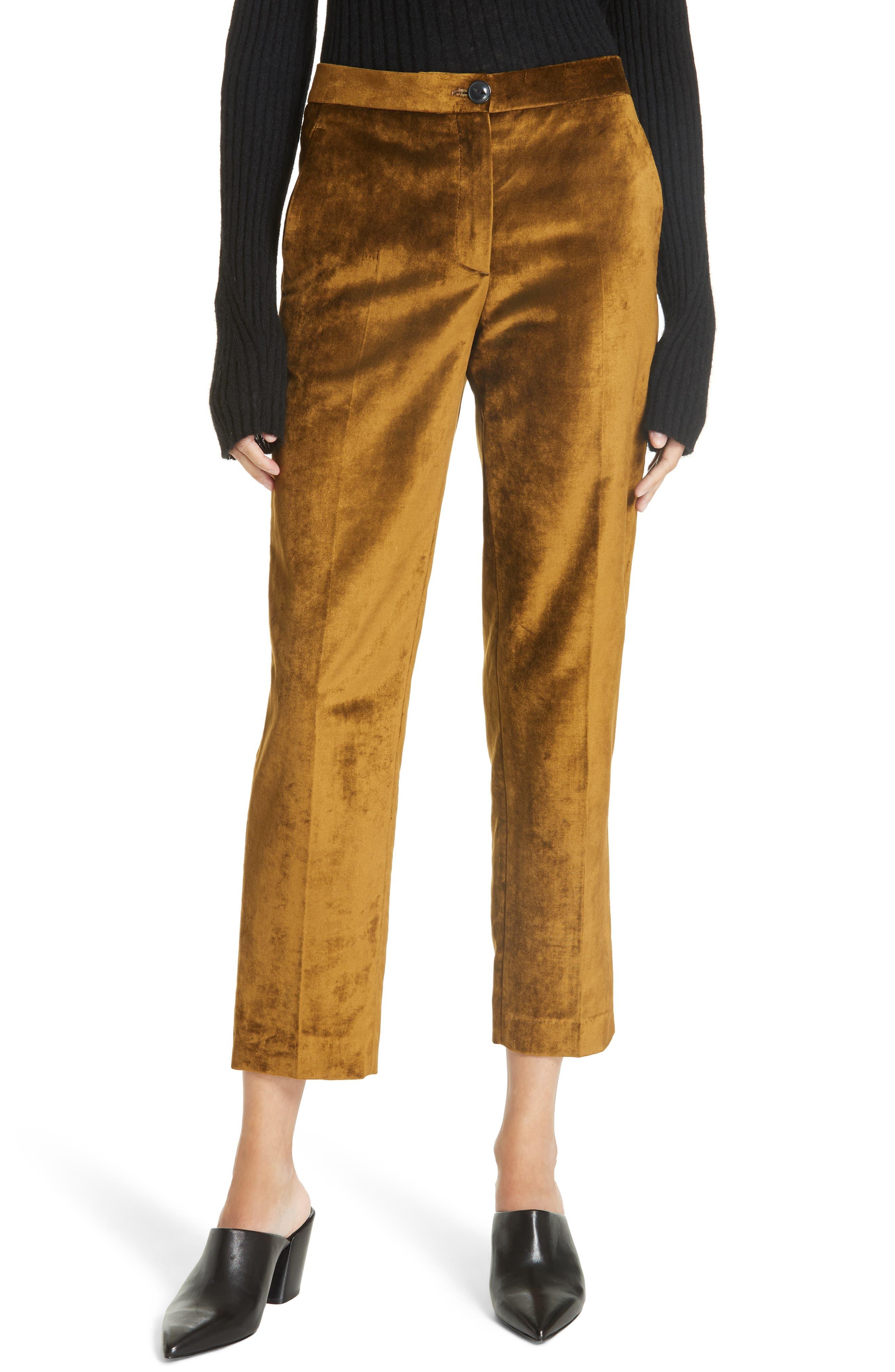 Poppy Velvet Pants, Main, color, OLIVE