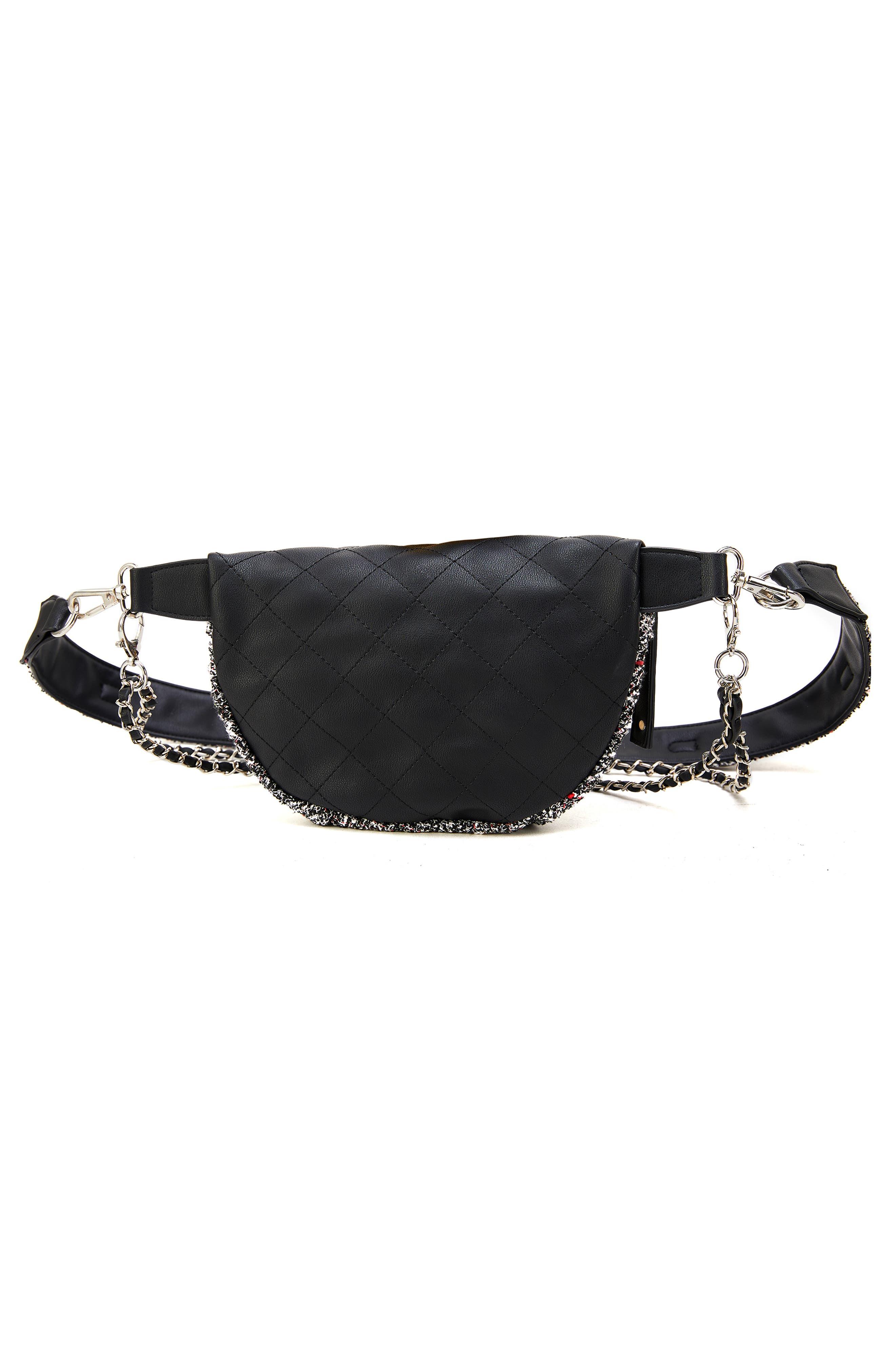 Tweed Belt Bag,                             Alternate thumbnail 2, color,                             BLACK