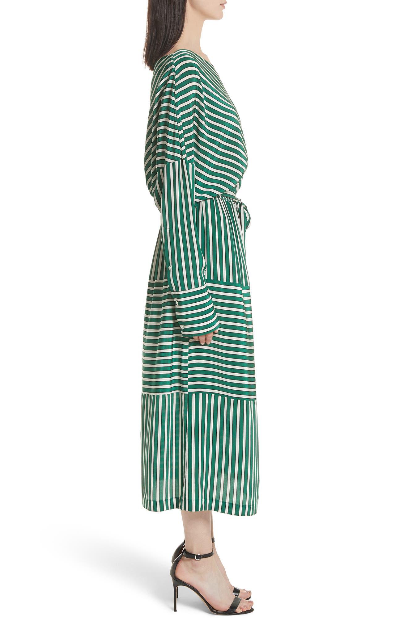 Stripe Silk Cold Shoulder Dress,                             Alternate thumbnail 3, color,                             300