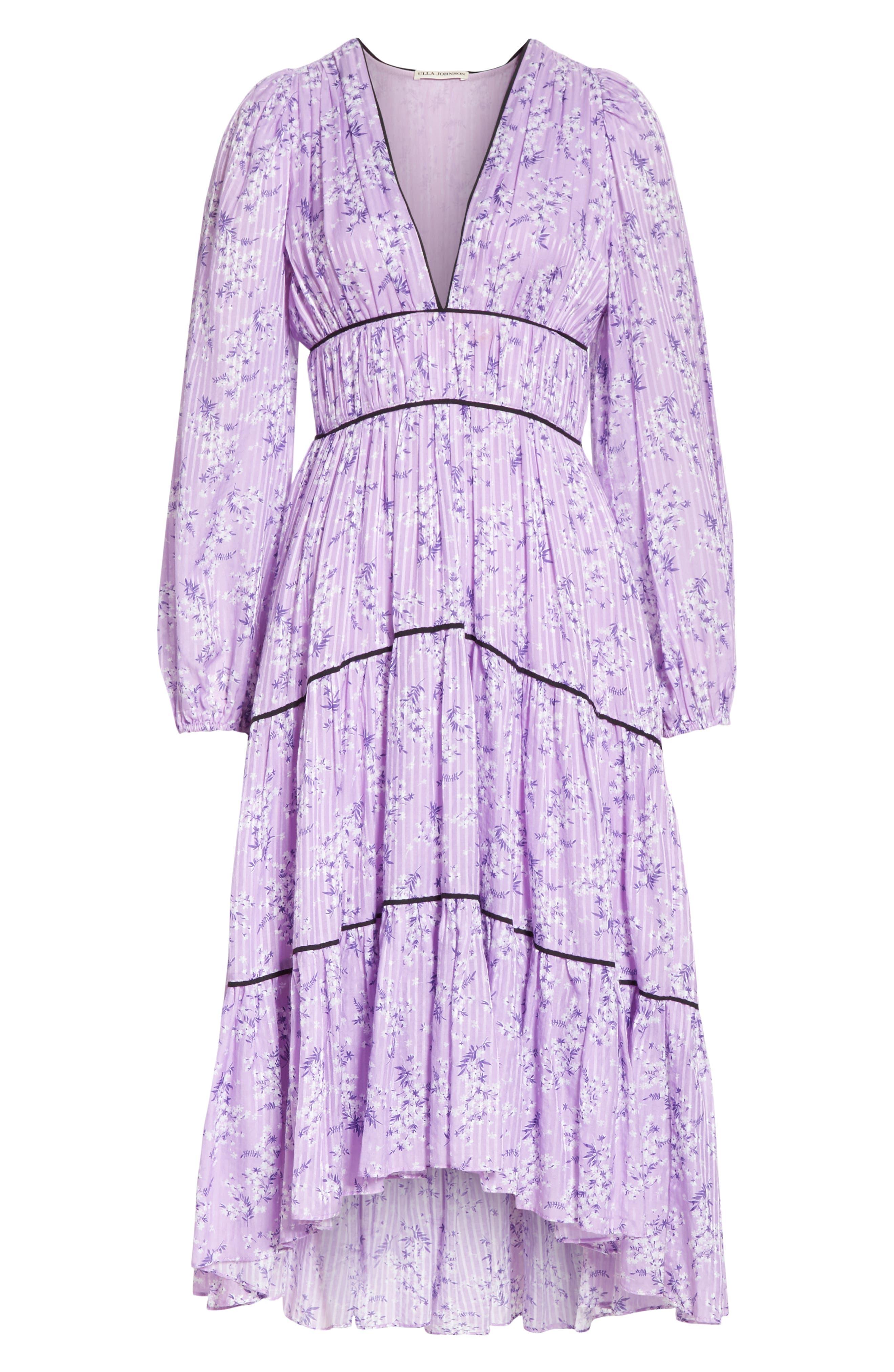 Joan Floral Print Cotton & Silk Midi Dress,                             Alternate thumbnail 6, color,                             LILAC