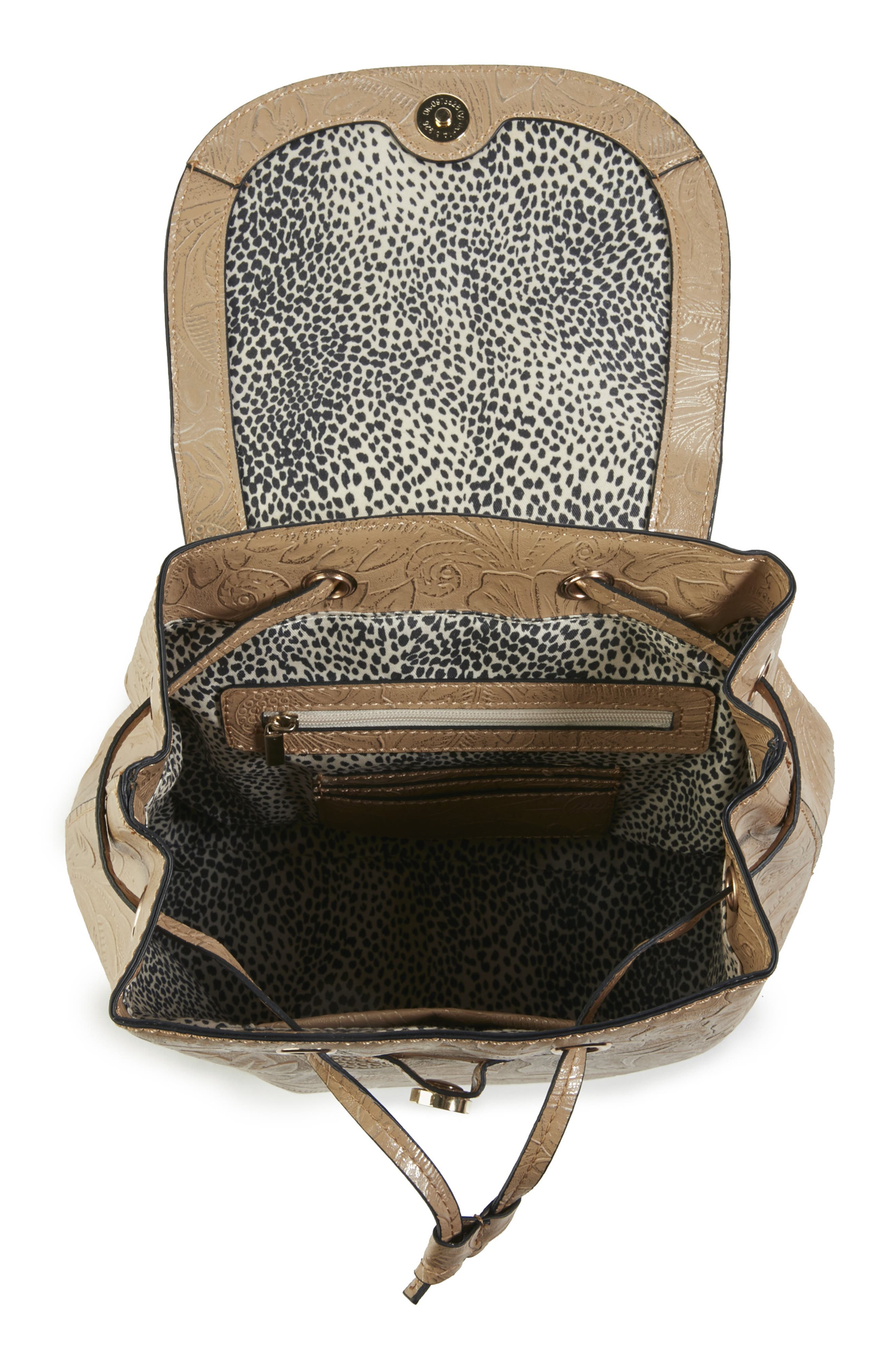 Hawna Faux Leather Backpack,                             Alternate thumbnail 3, color,                             METALLIC SAFARI