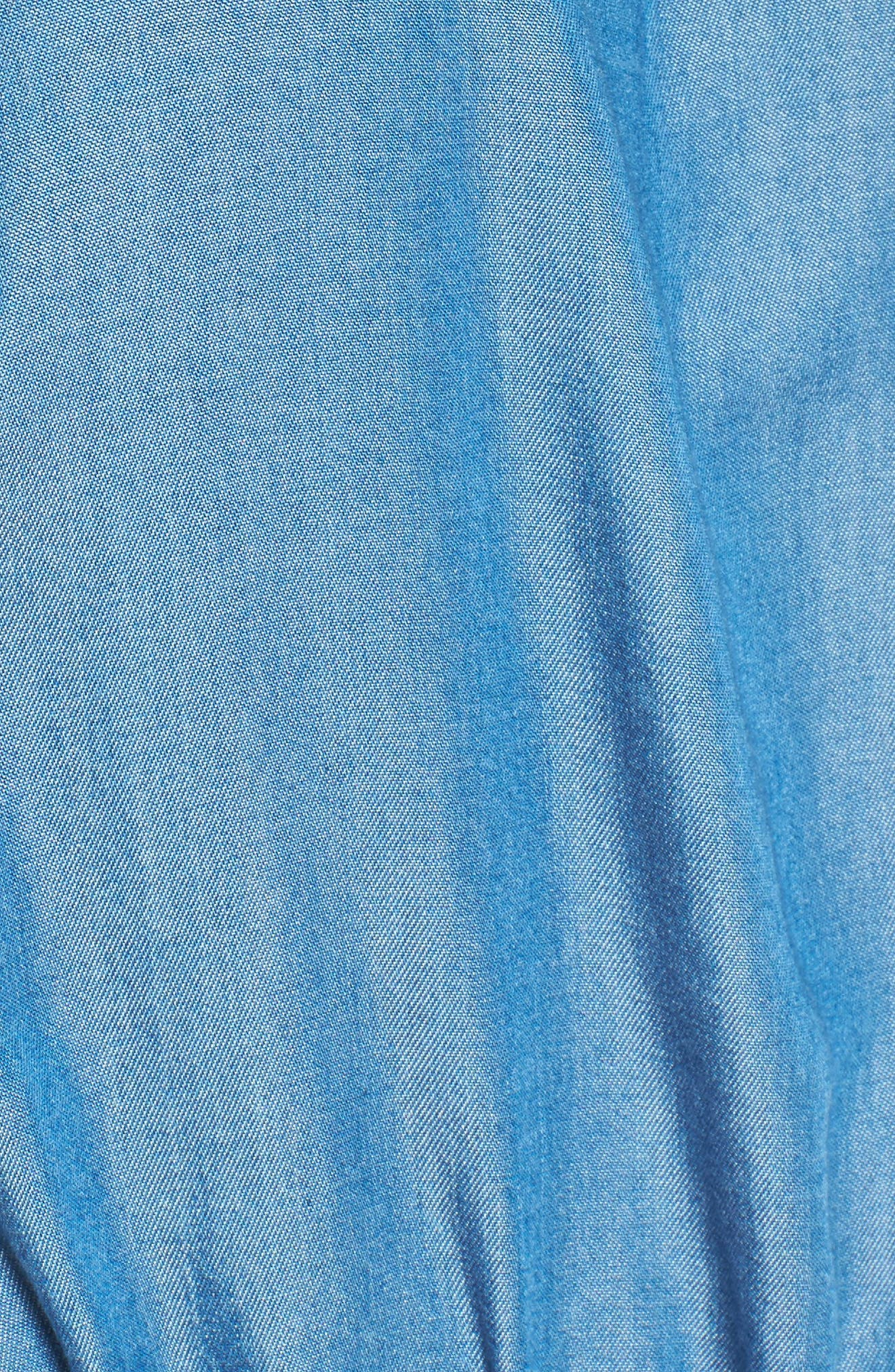 Cold Shoulder Chambray Romper,                             Alternate thumbnail 5, color,                             401