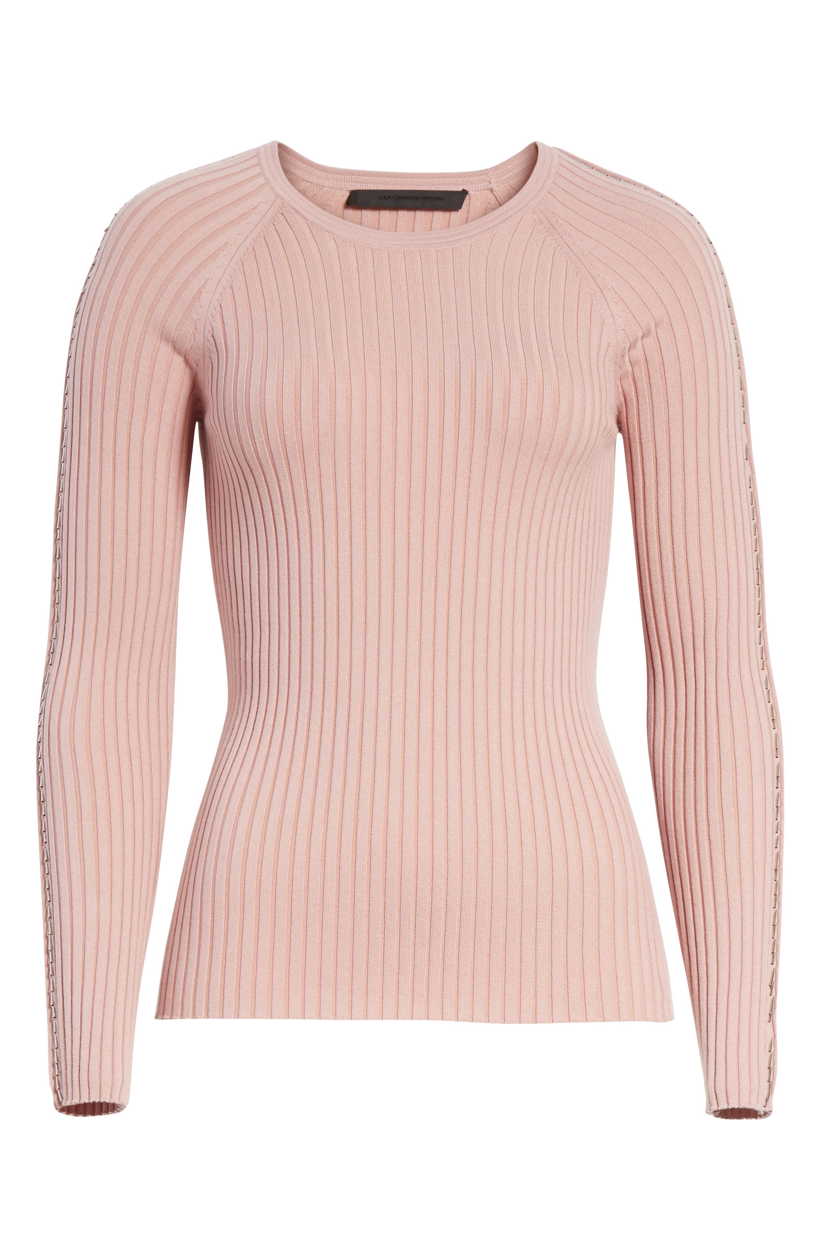 Pin Pierce Ribbed Sweater,                             Alternate thumbnail 6, color,                             654