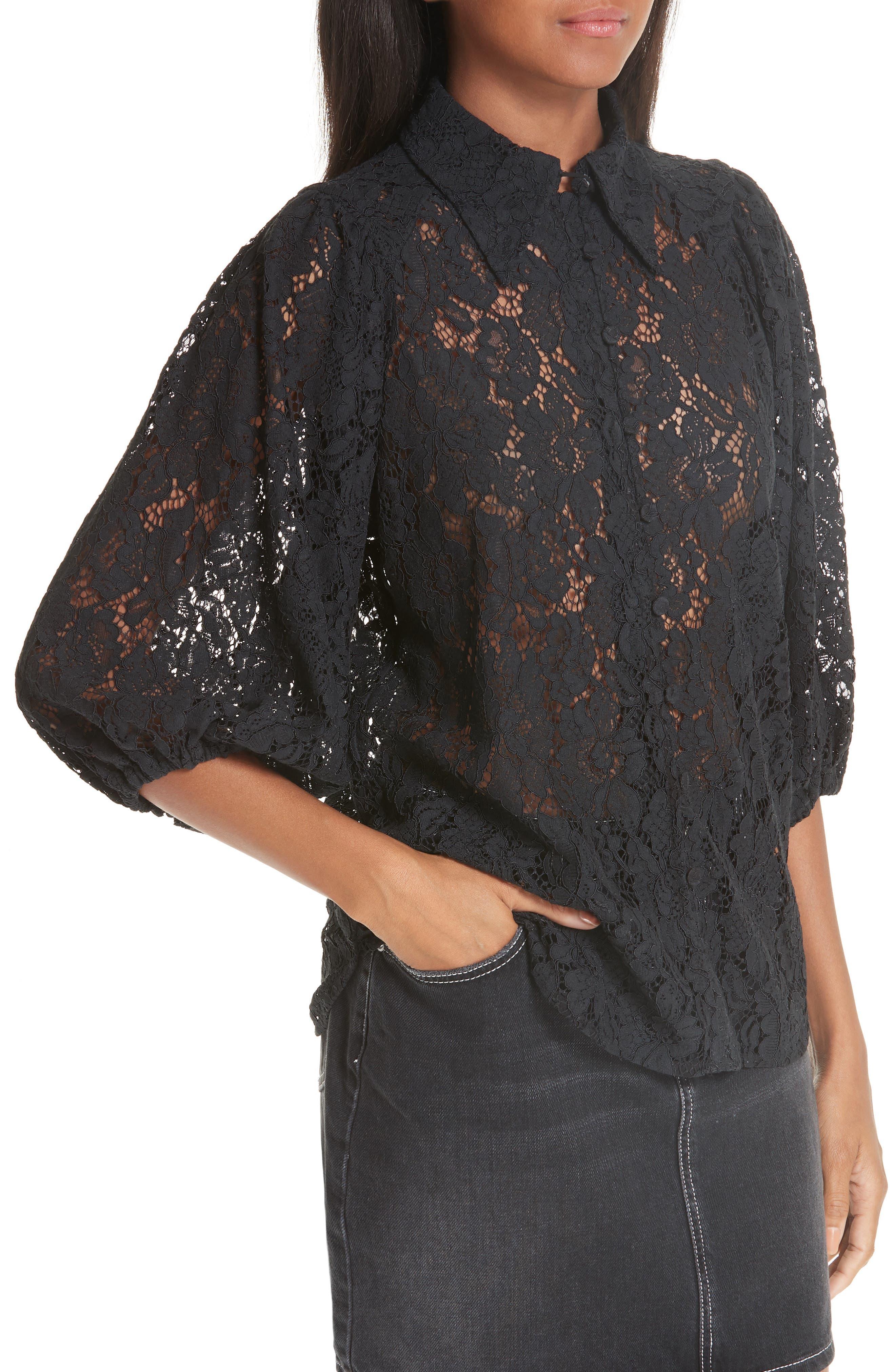 Cotton Blend Lace Top,                             Alternate thumbnail 4, color,                             BLACK 099