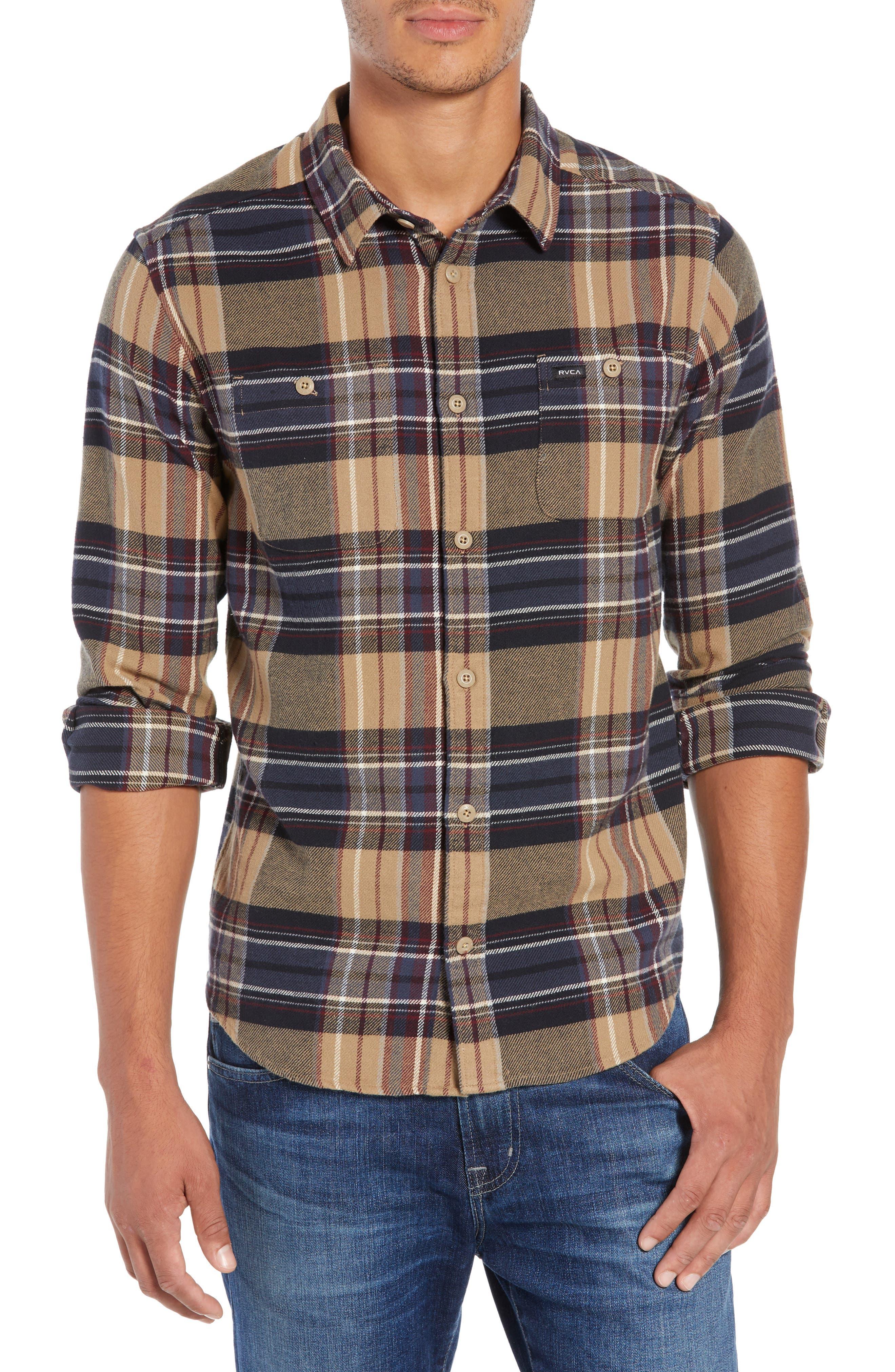 Rvca Ludlow Plaid Flannel Shirt, Brown