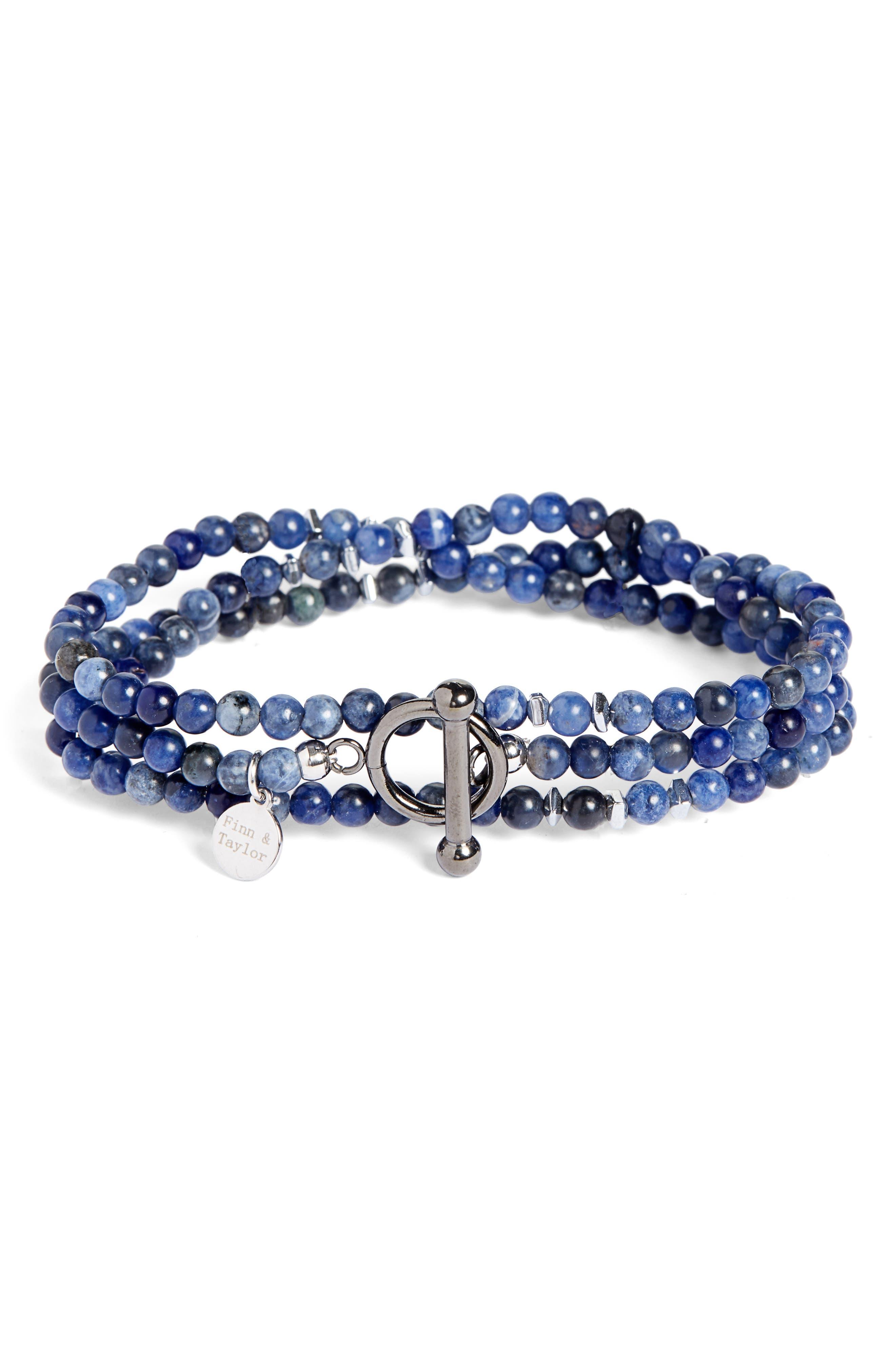 Lapis Lazuli Bead Wrap Bracelet,                             Main thumbnail 1, color,                             BLUE