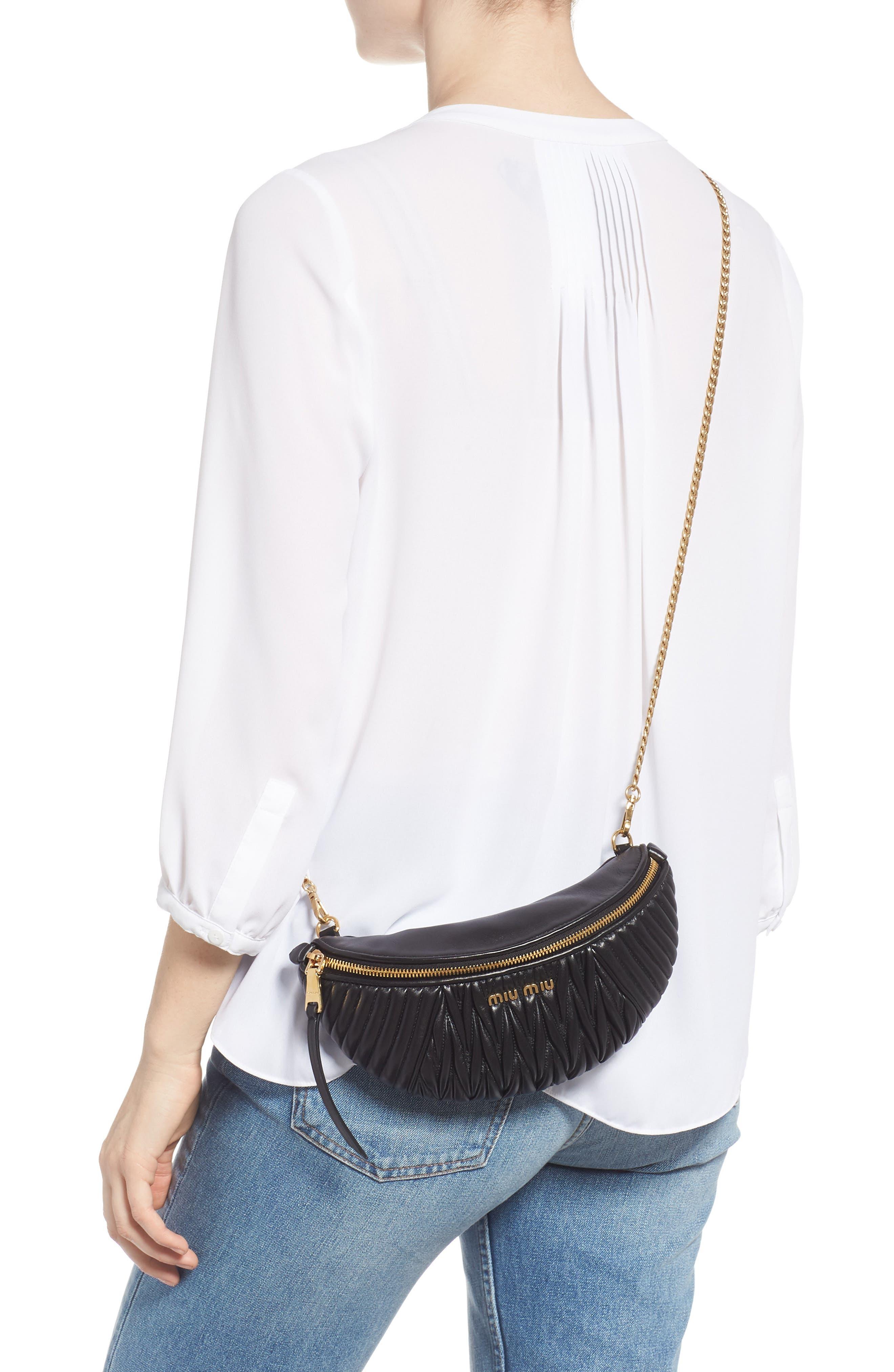 Matelassé Lambskin Leather Belt Bag,                             Alternate thumbnail 3, color,                             NERO