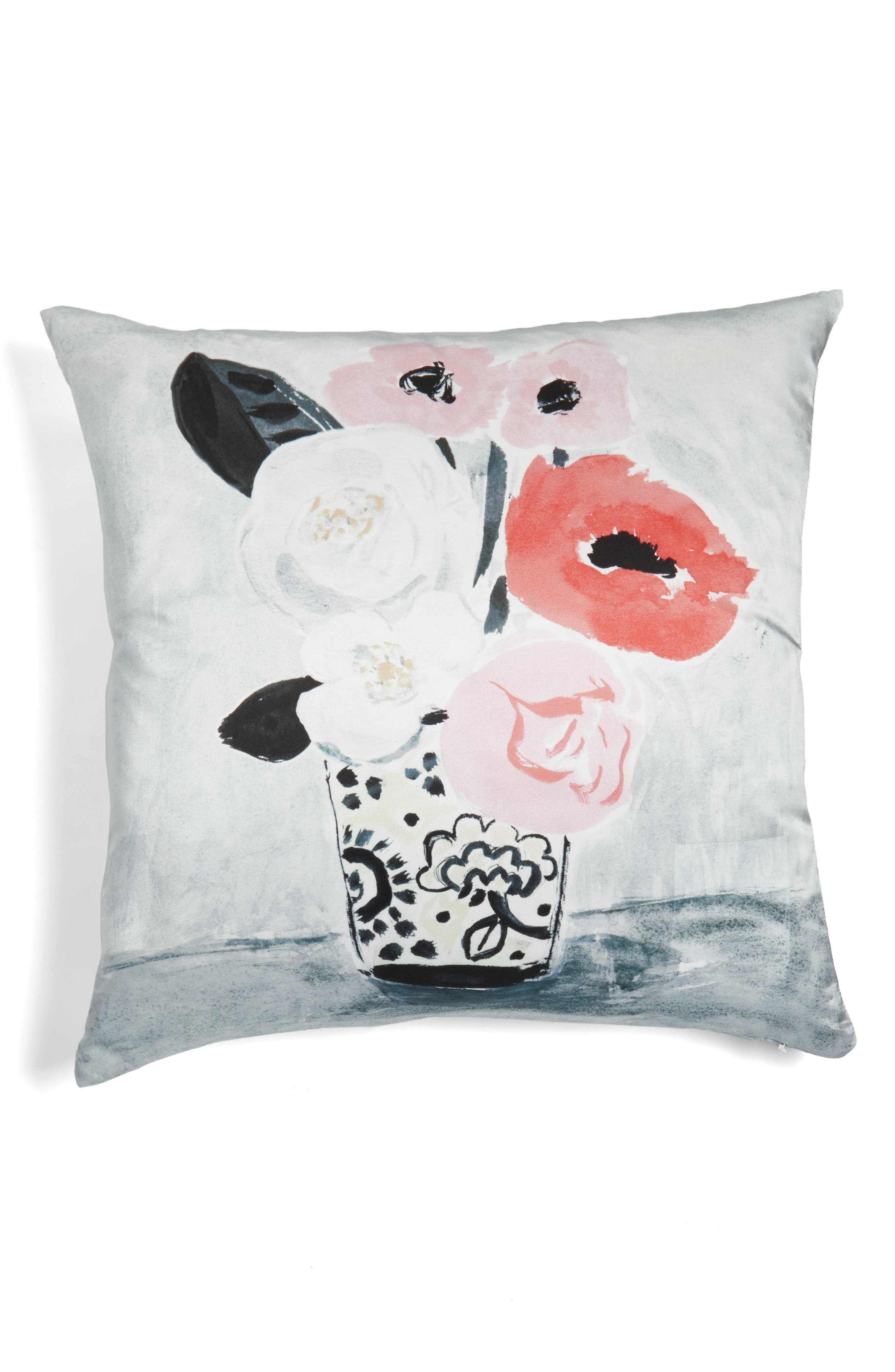white peony accent pillow,                             Alternate thumbnail 2, color,                             100