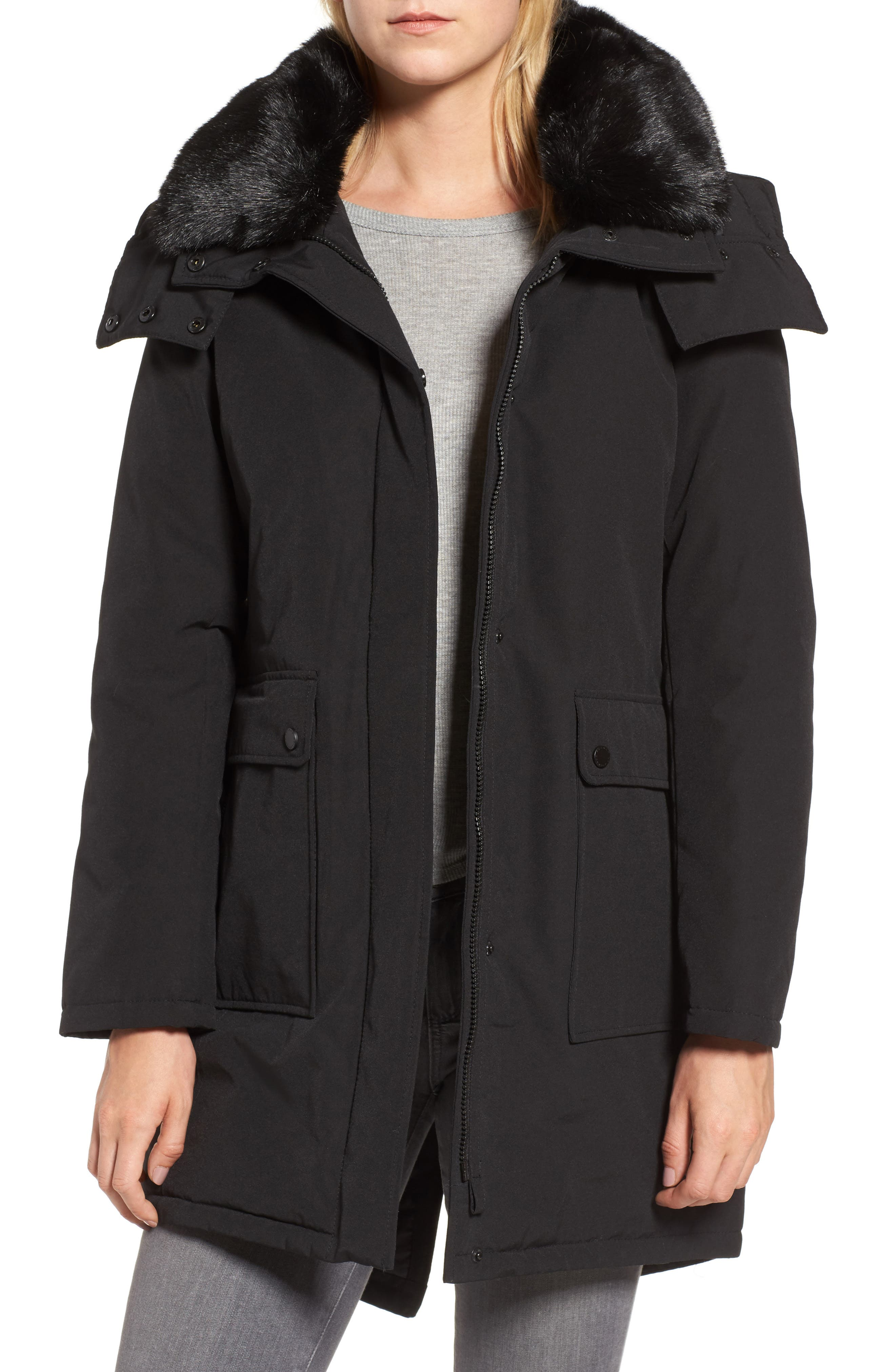 Hooded Anorak with Detachable Faux Fur Collar,                             Main thumbnail 1, color,                             001
