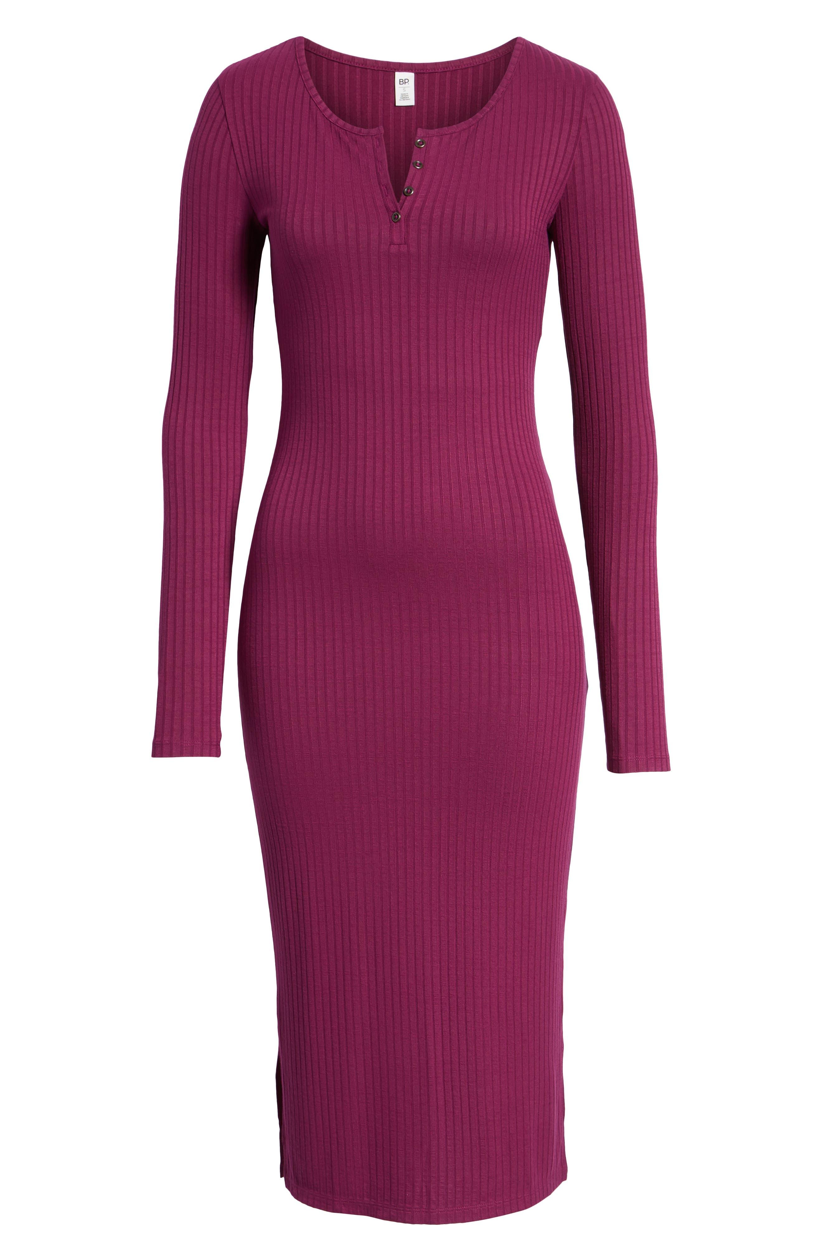 Ribbed Henley Midi Dress,                             Alternate thumbnail 7, color,                             PURPLE MAGENTA