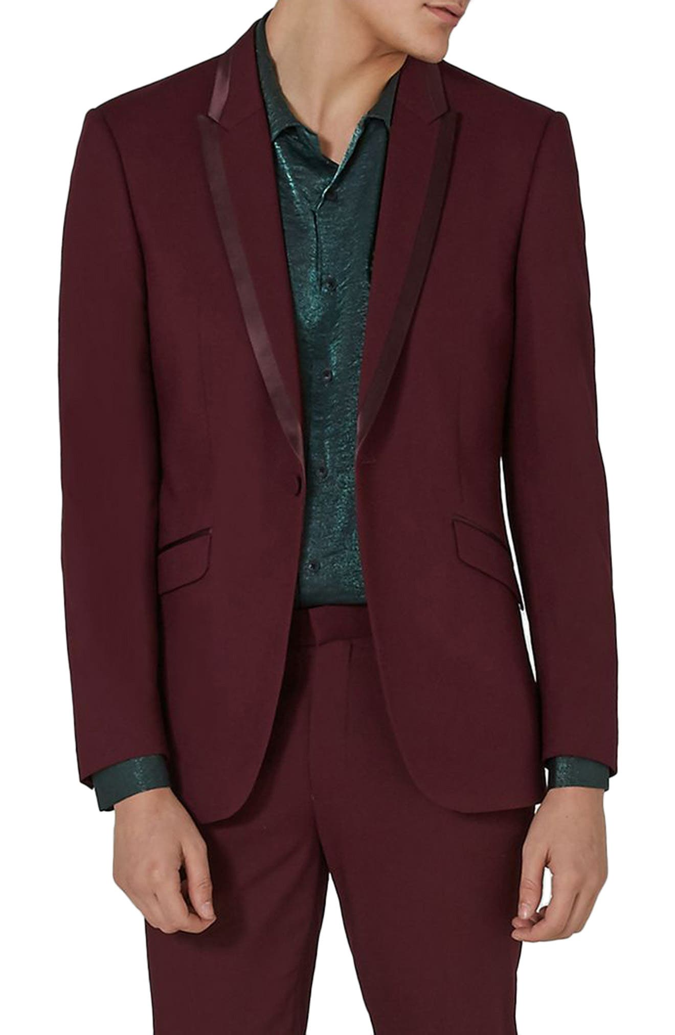 Skinny Fit Burgundy Tuxedo Jacket,                             Main thumbnail 1, color,