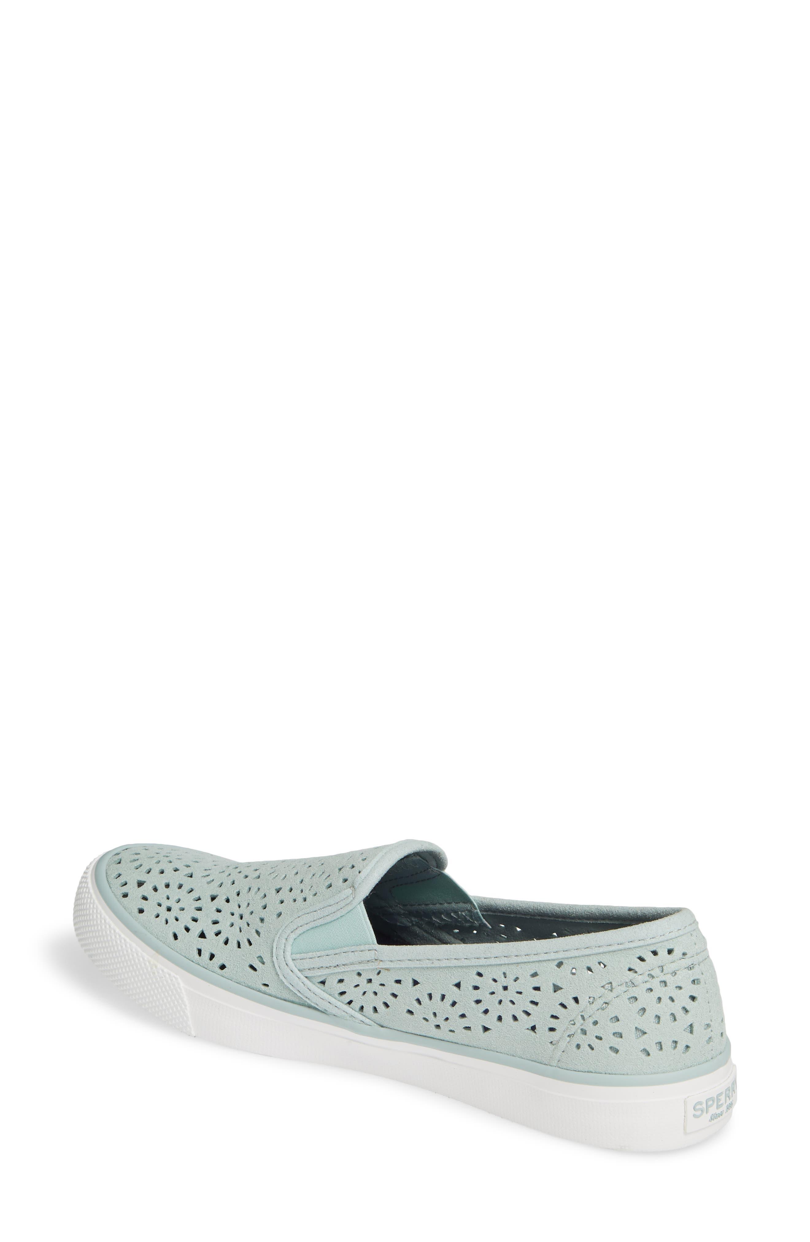 Seaside Nautical Perforated Slip-On Sneaker,                             Alternate thumbnail 2, color,                             MINT NUBUCK LEATHER