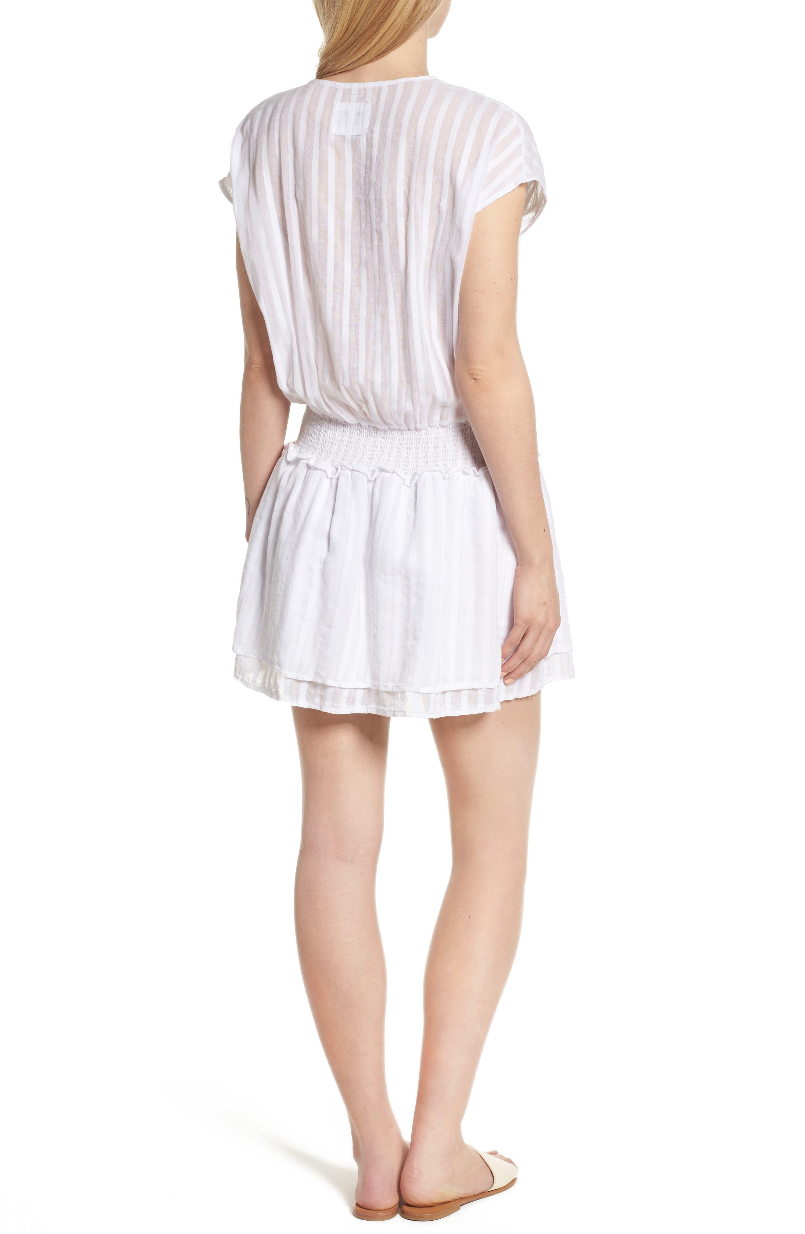 Lucca Blouson Cotton Dress,                             Alternate thumbnail 2, color,                             WHITE SHADOW STRIPE