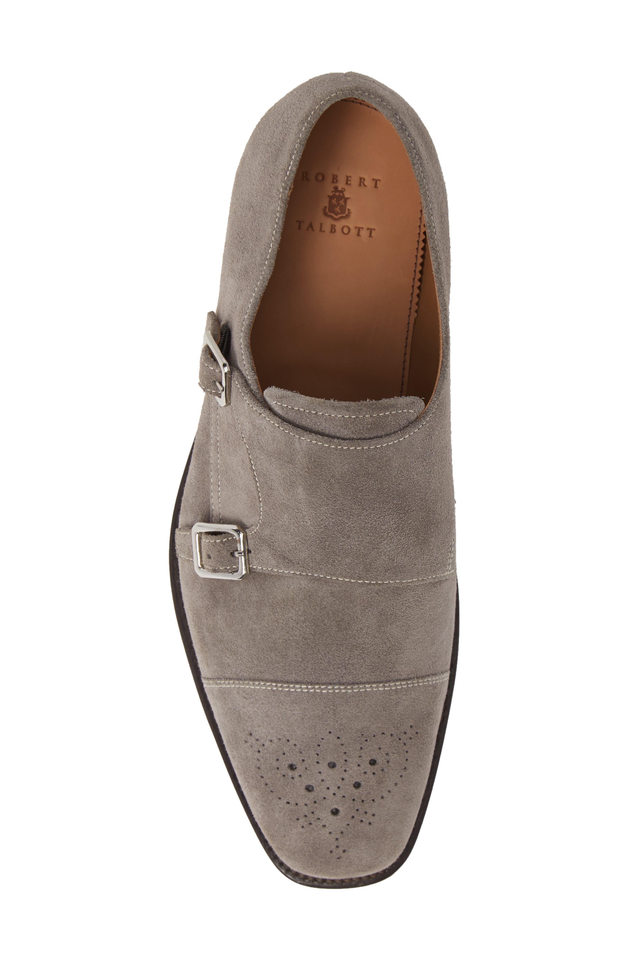 Sausalito Double Monk Strap Shoe,                             Alternate thumbnail 5, color,                             GREY SUEDE