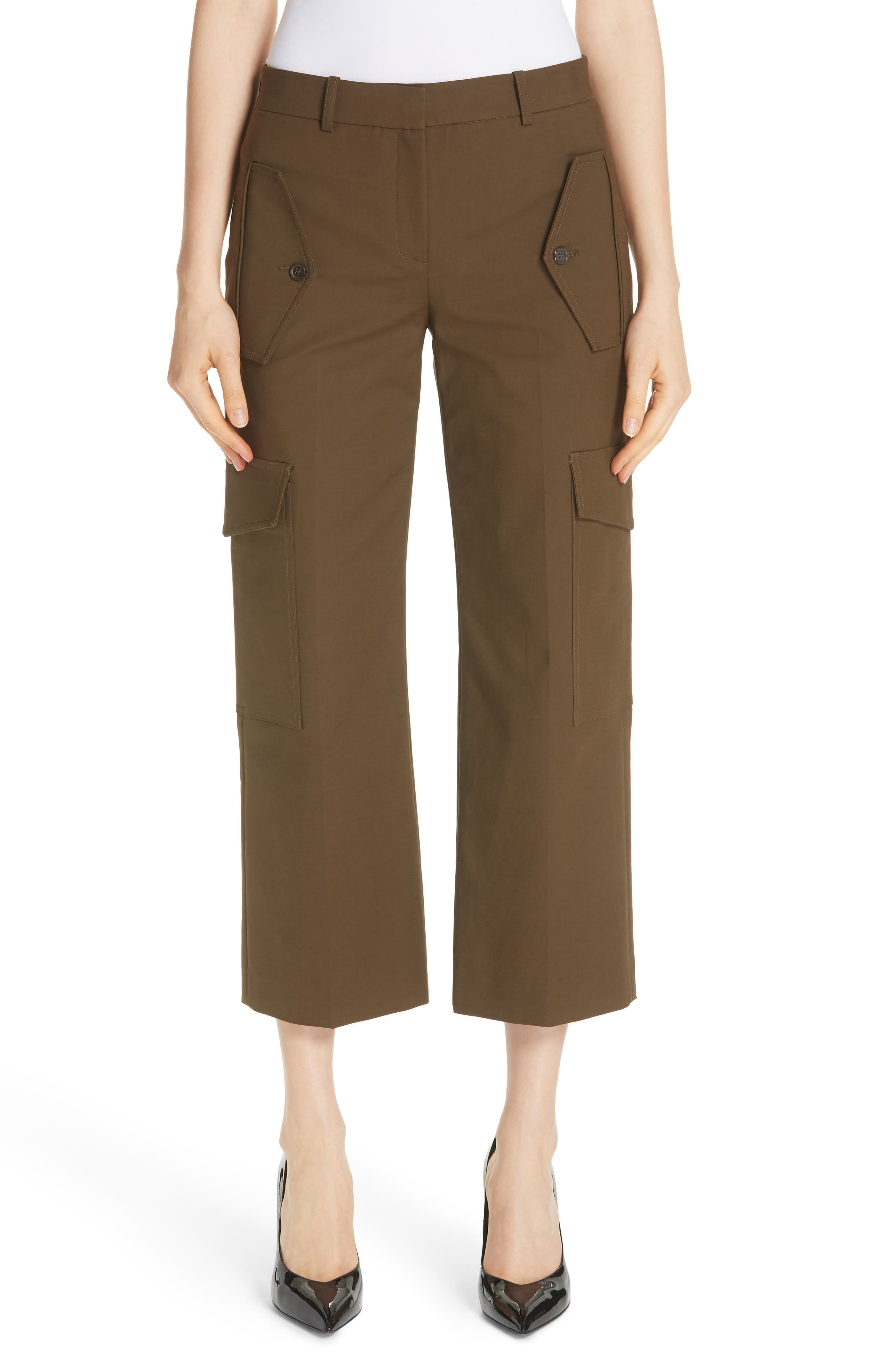 Crop Cargo Pants,                         Main,                         color, OLIVE