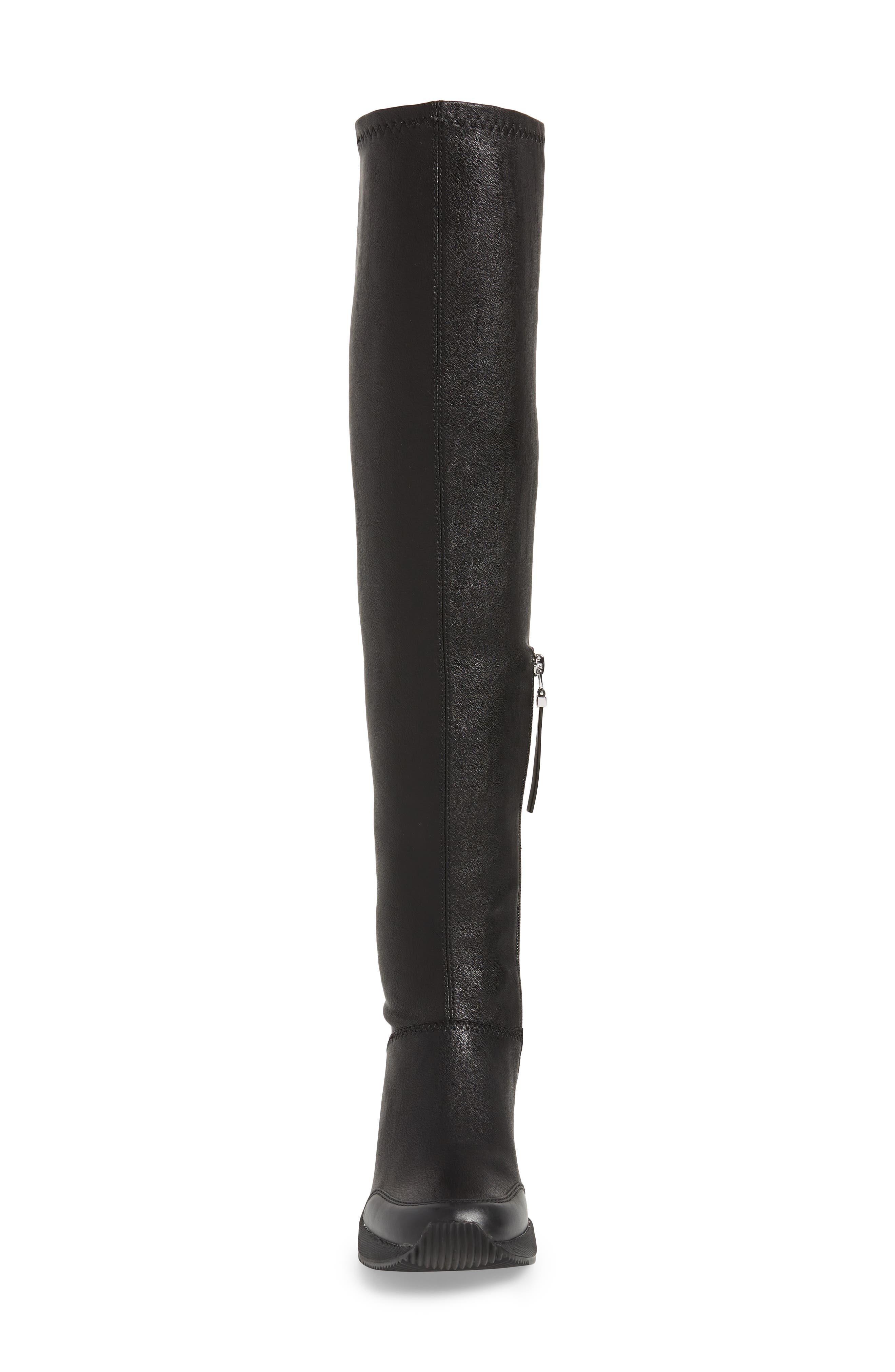 Tipton Wedge Over the Knee Rain Boot,                             Alternate thumbnail 4, color,                             BLACK FAUX LEATHER