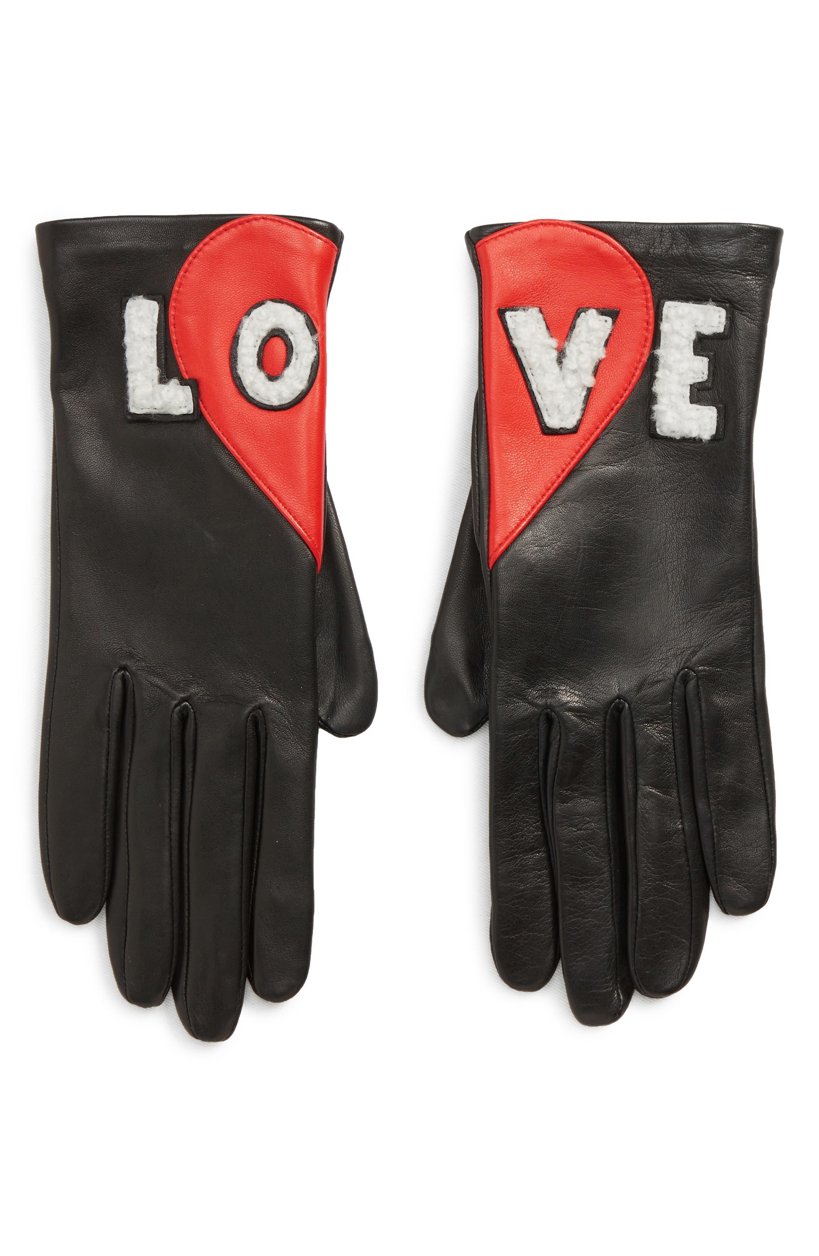 Agnelle Love Genuine Shearling Leather Gloves - Black