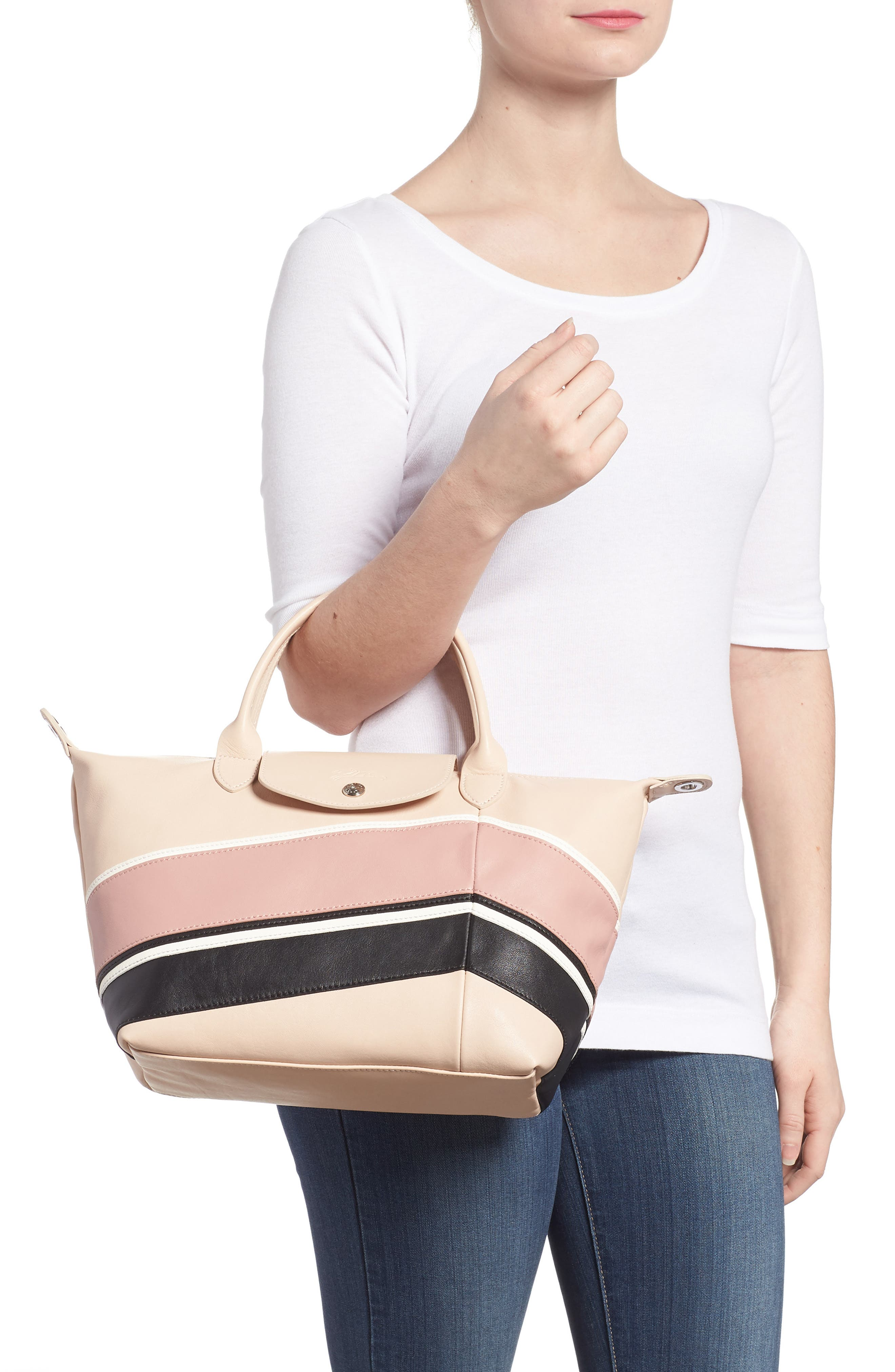 Small Le Pliage Cuir - Chevron Leather Top Handle Tote,                             Alternate thumbnail 2, color,                             650