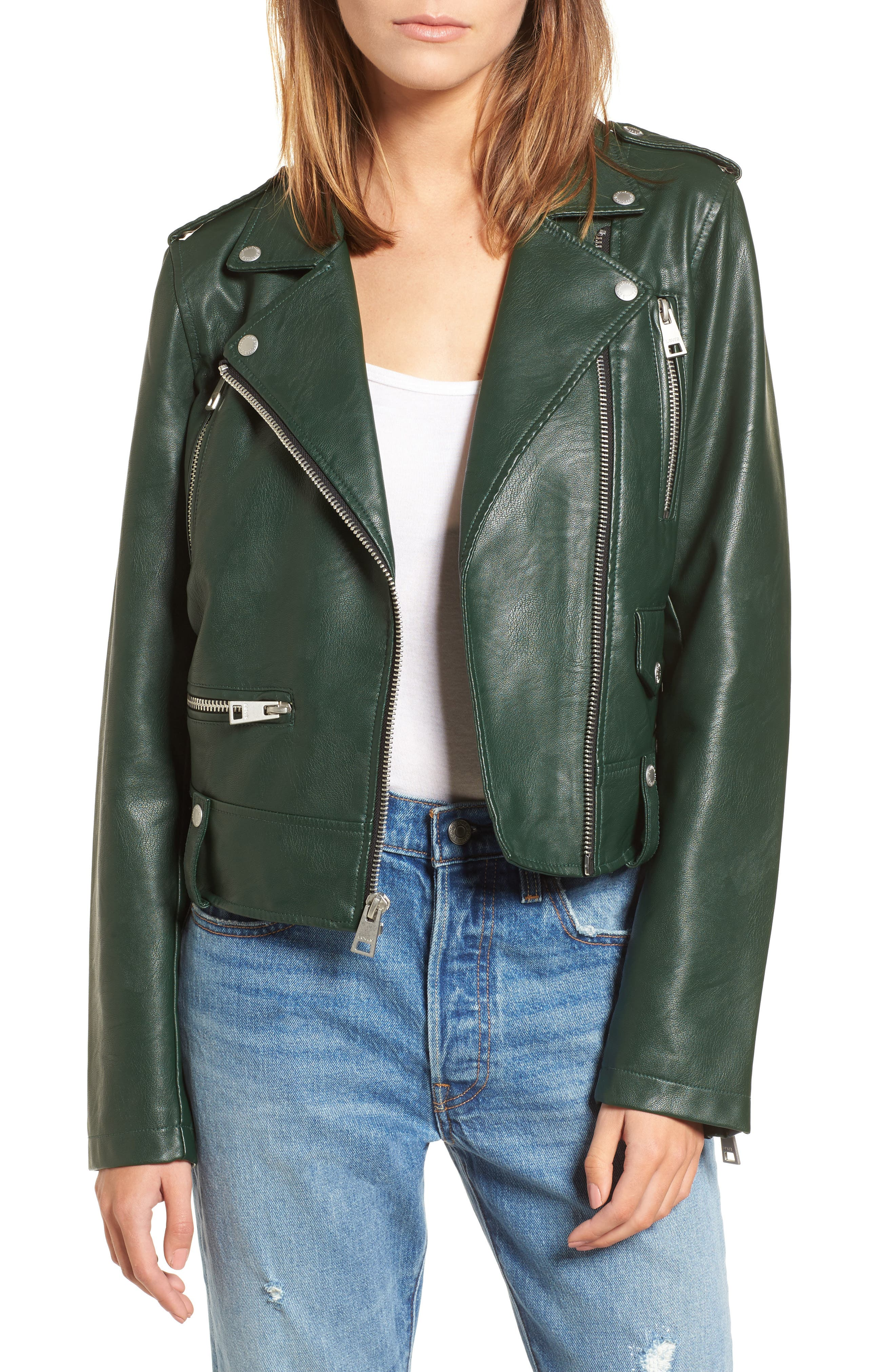 Faux Leather Moto Jacket,                         Main,                         color, HUNTER GREEN