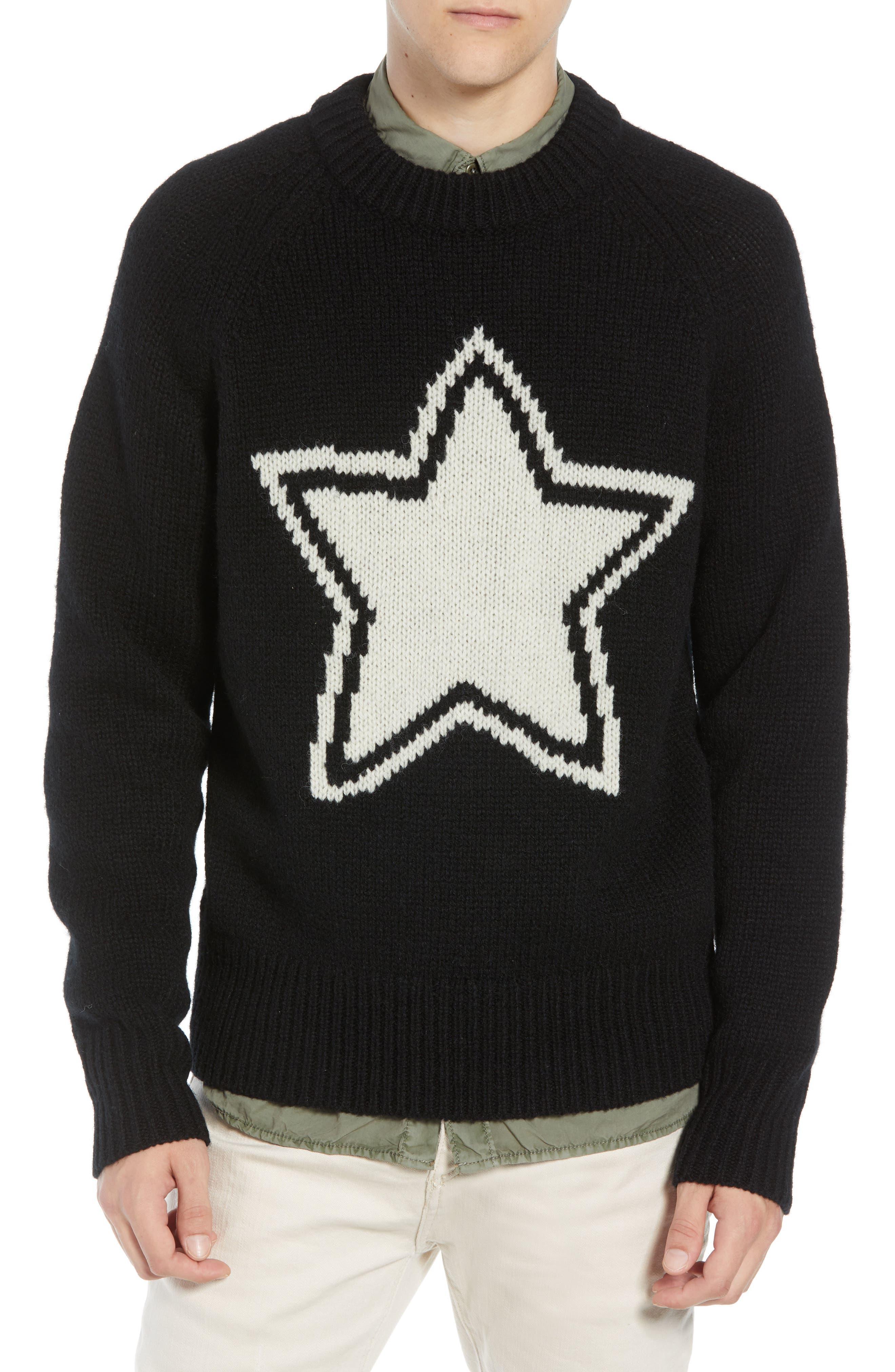 Star Wool Sweater,                             Main thumbnail 1, color,                             BLACK WHITECAP GREY