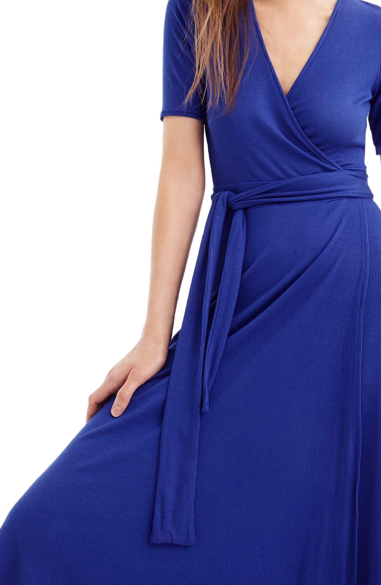 Knit Wrap Dress,                             Alternate thumbnail 5, color,
