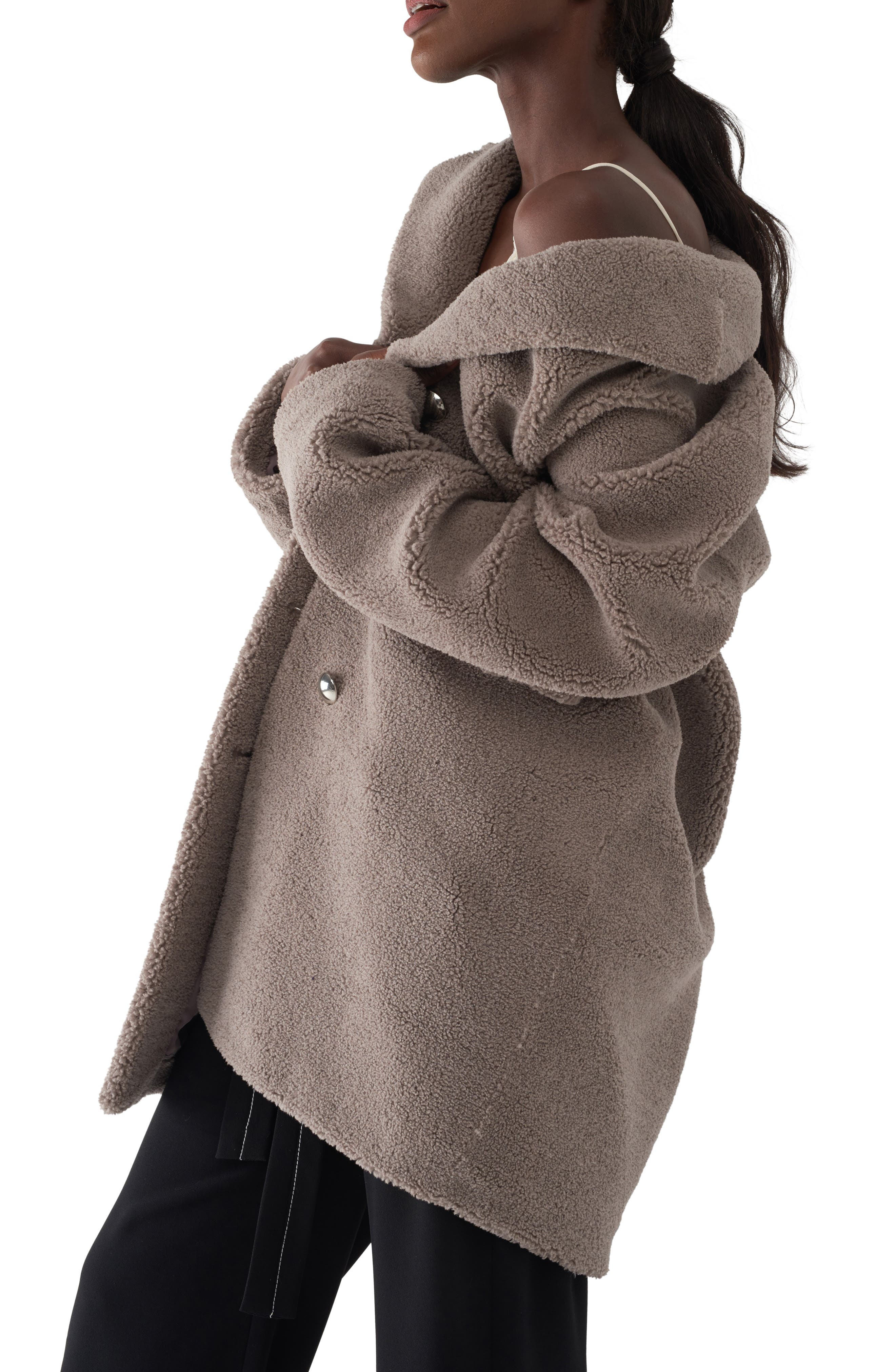 Gita Teddy Coat,                             Alternate thumbnail 3, color,                             TAUPE