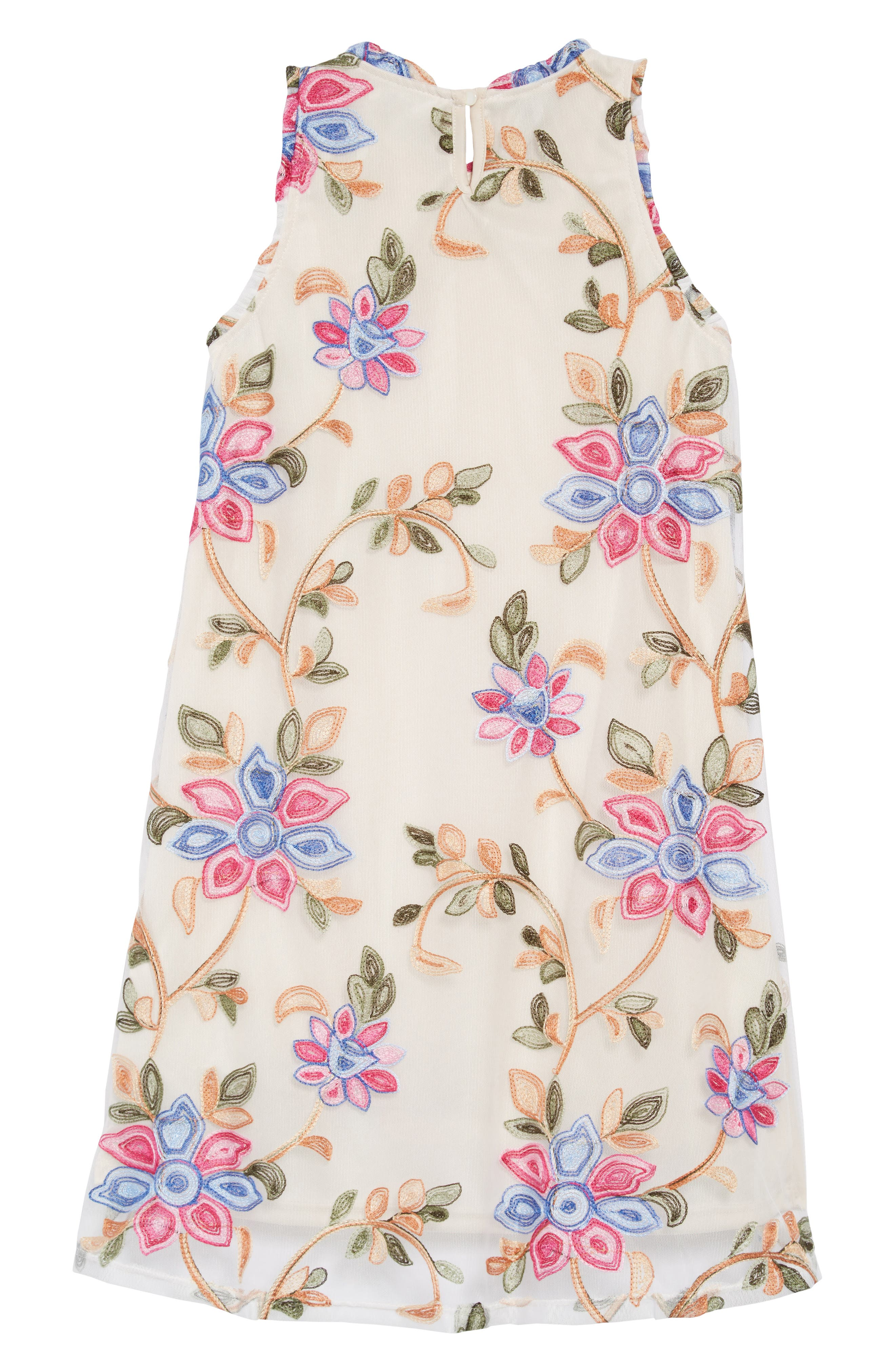 Floral Embroidered Shift Dress,                             Alternate thumbnail 2, color,                             400