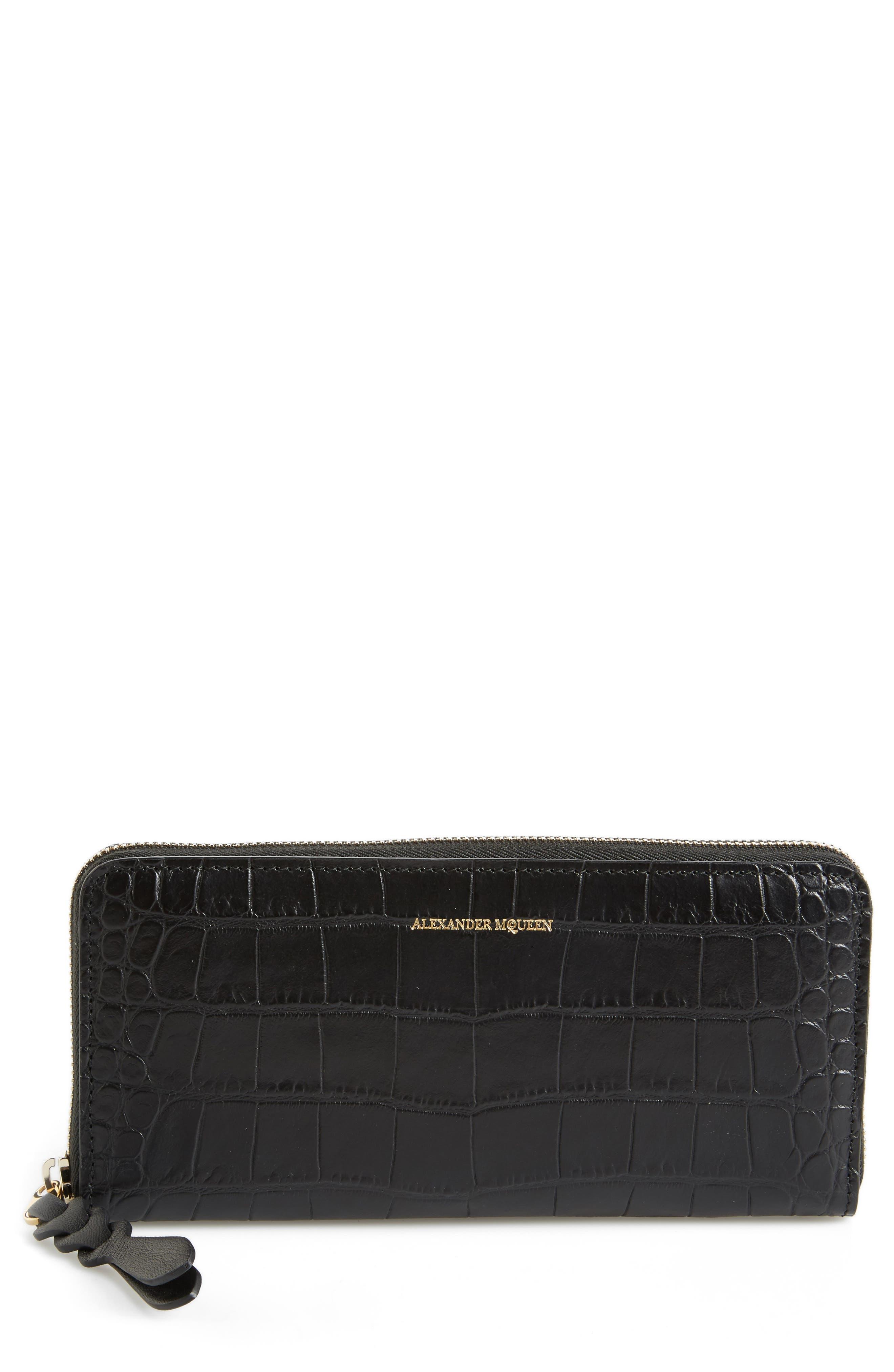 Croc-Embossed Leather Zip Around Wallet,                         Main,                         color, BLACK