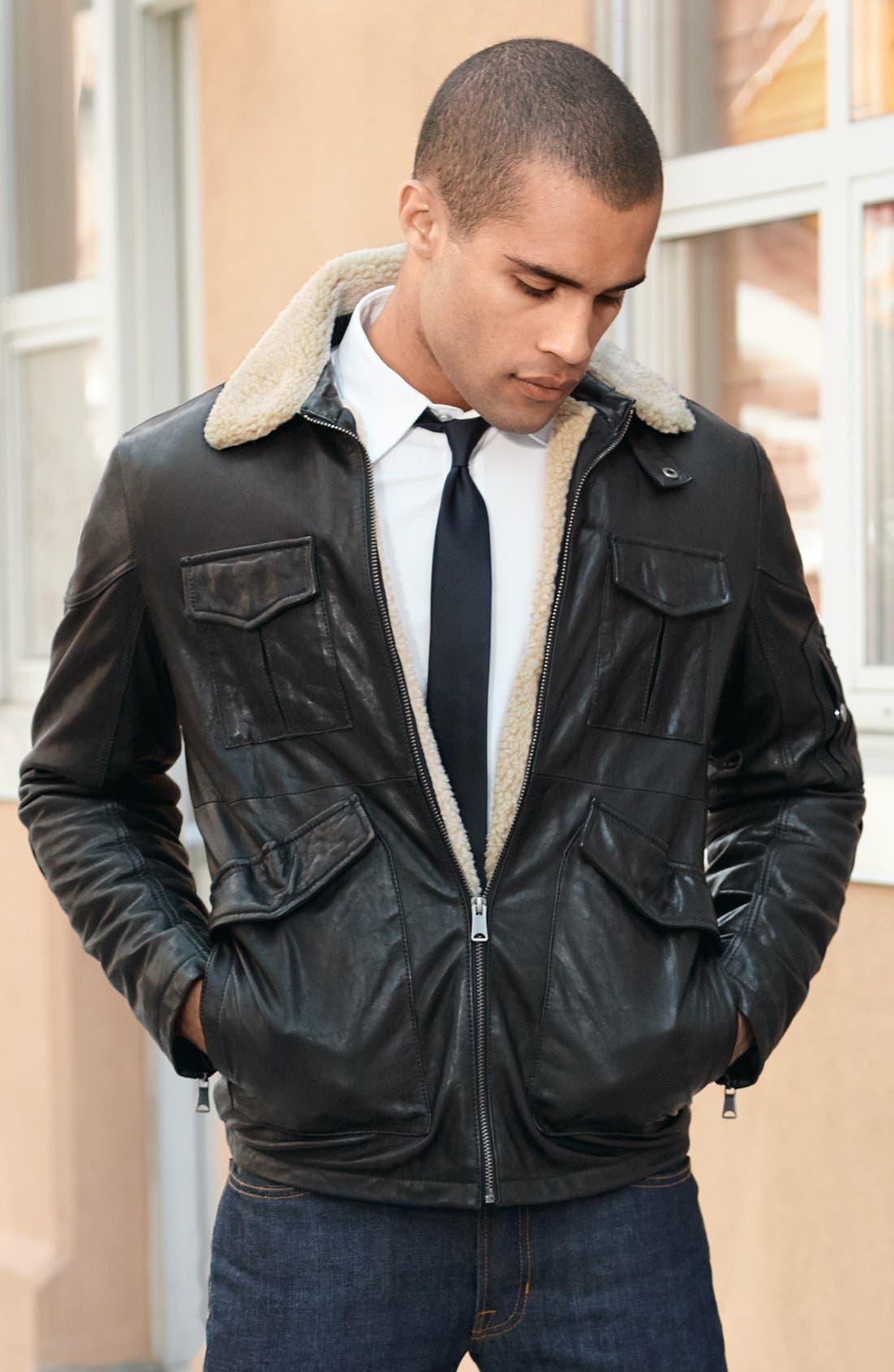 LEVI'S<SUP>®</SUP>,                             Leather Bomber Jacket,                             Alternate thumbnail 4, color,                             001