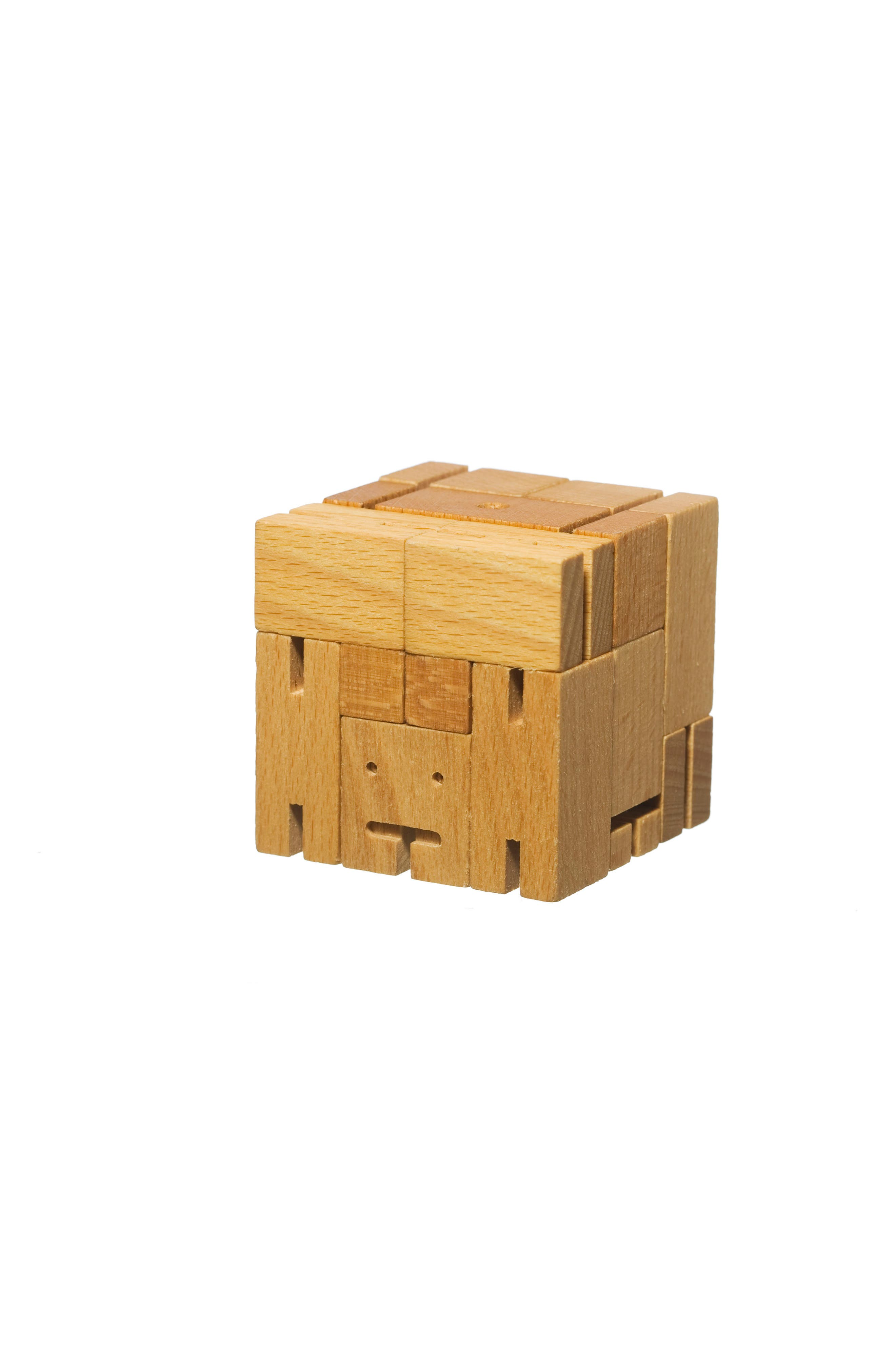 Cubebot Small Wooden Robot Toy,                             Alternate thumbnail 3, color,                             200