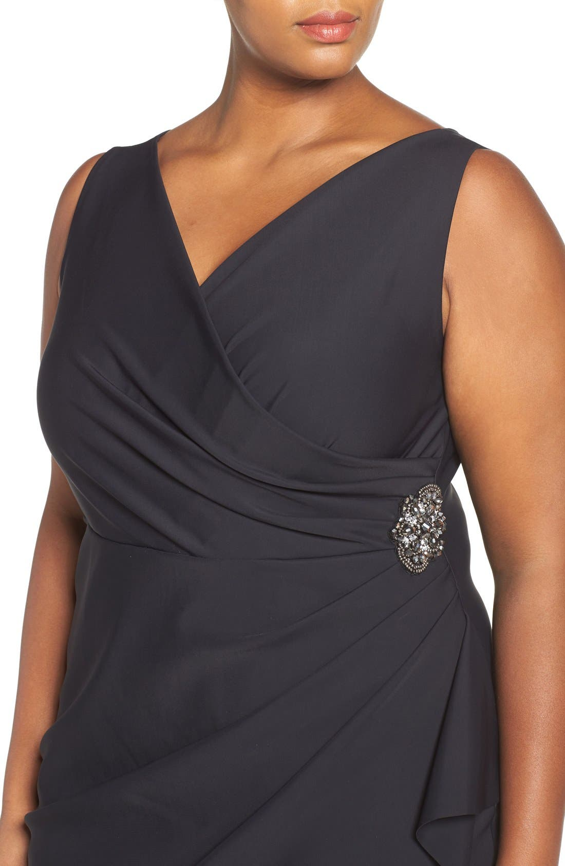 Embellished Surplice Sheath Dress,                             Alternate thumbnail 4, color,                             001