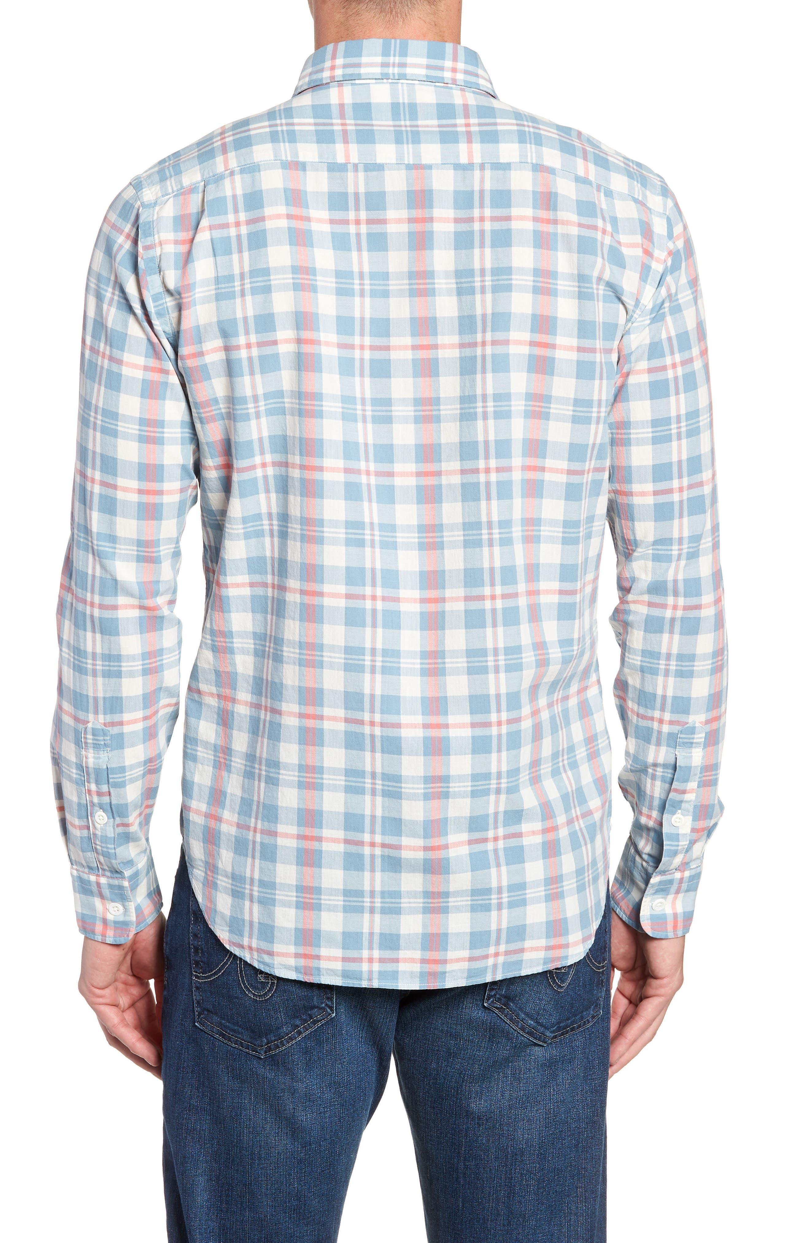 Ventura Plaid Sport Shirt,                             Alternate thumbnail 2, color,                             WASHED BLUE CREAM