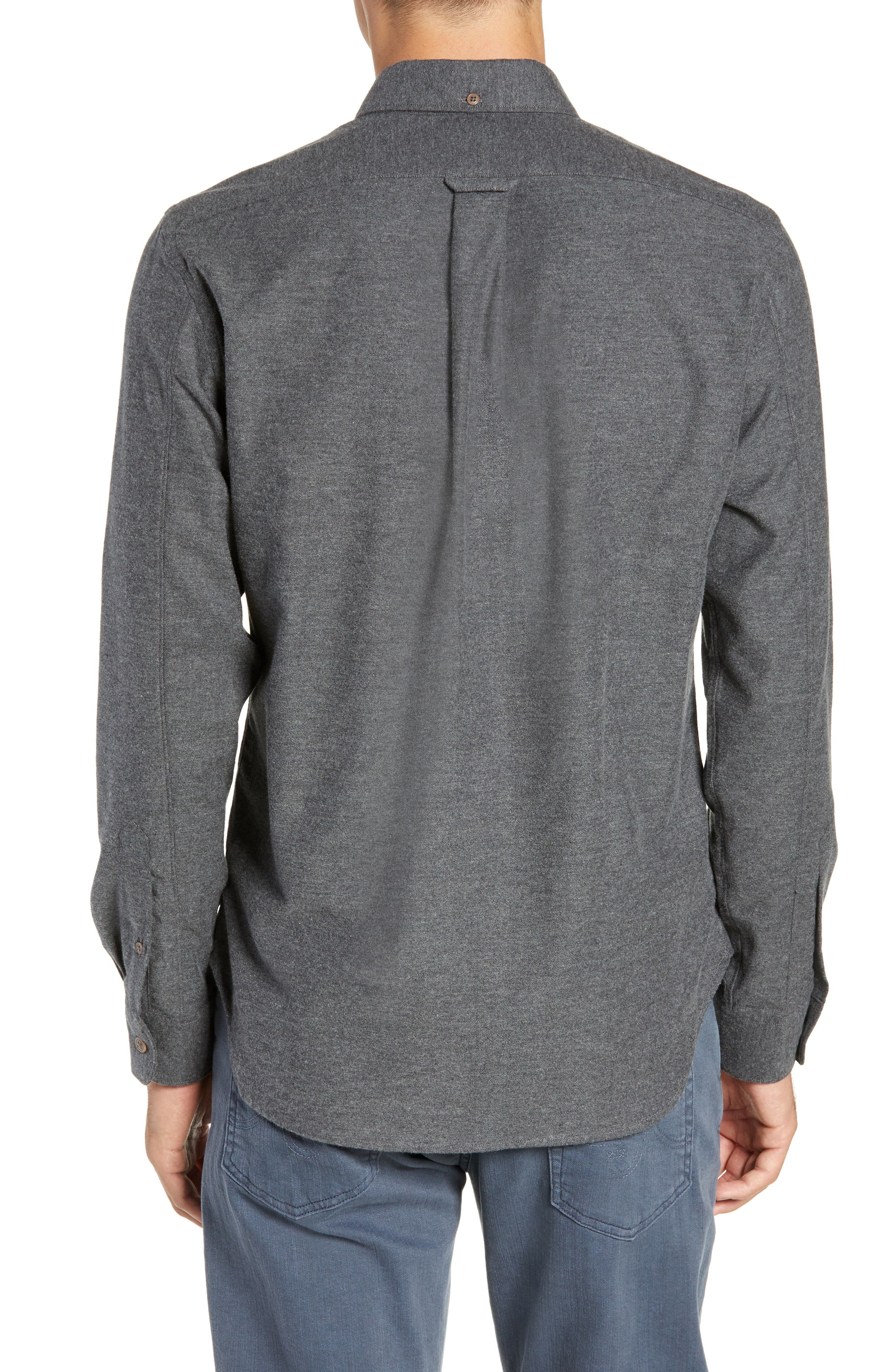 Brushed Cotton & Cashmere Twill Sport Shirt,                             Alternate thumbnail 3, color,                             020