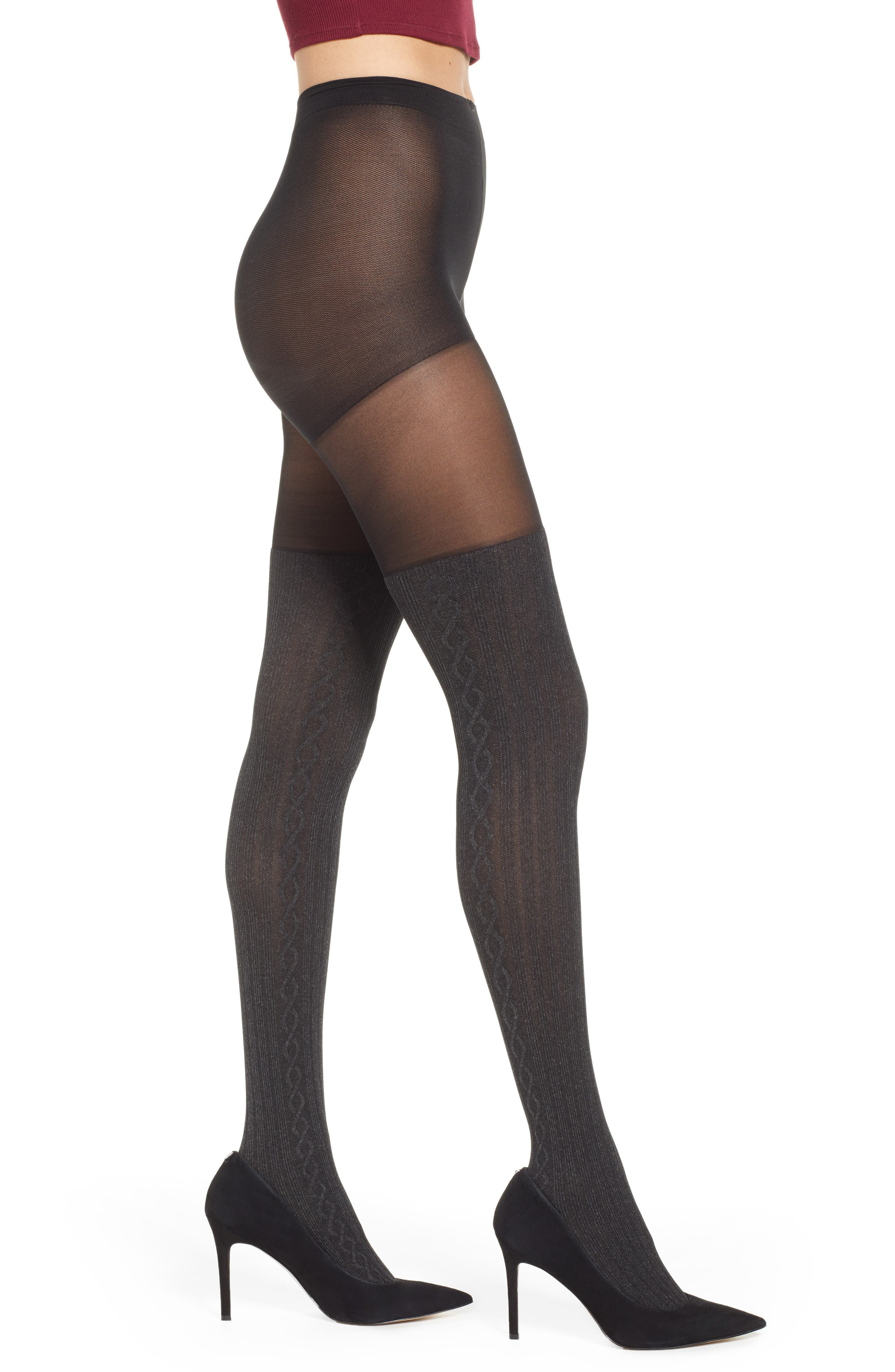 PRETTY POLLY Marled Over The Knee Sock Tights in Grey