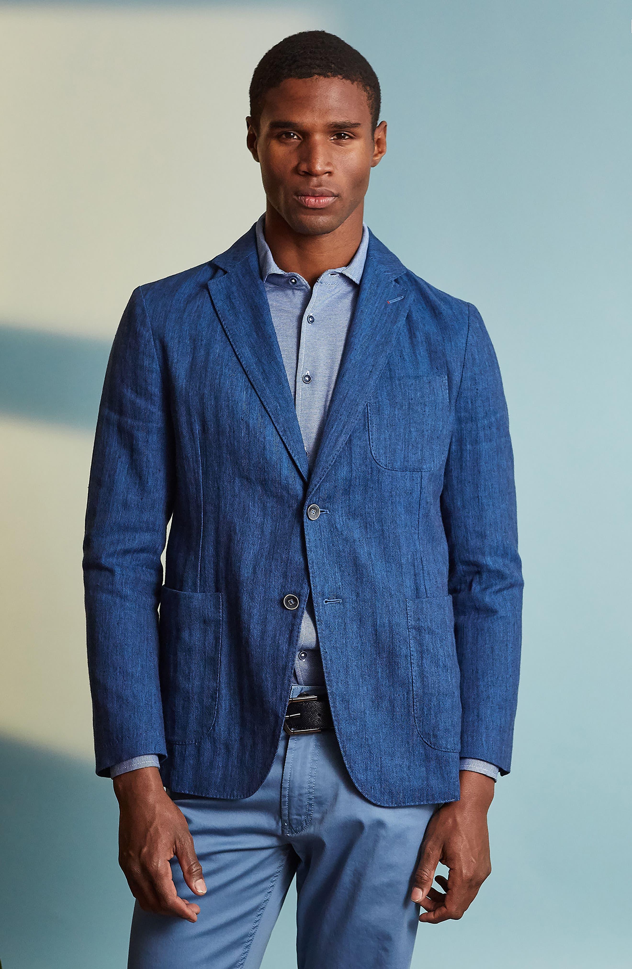 Regular Fit Herringbone Cotton & Linen Blazer,                             Alternate thumbnail 7, color,                             200