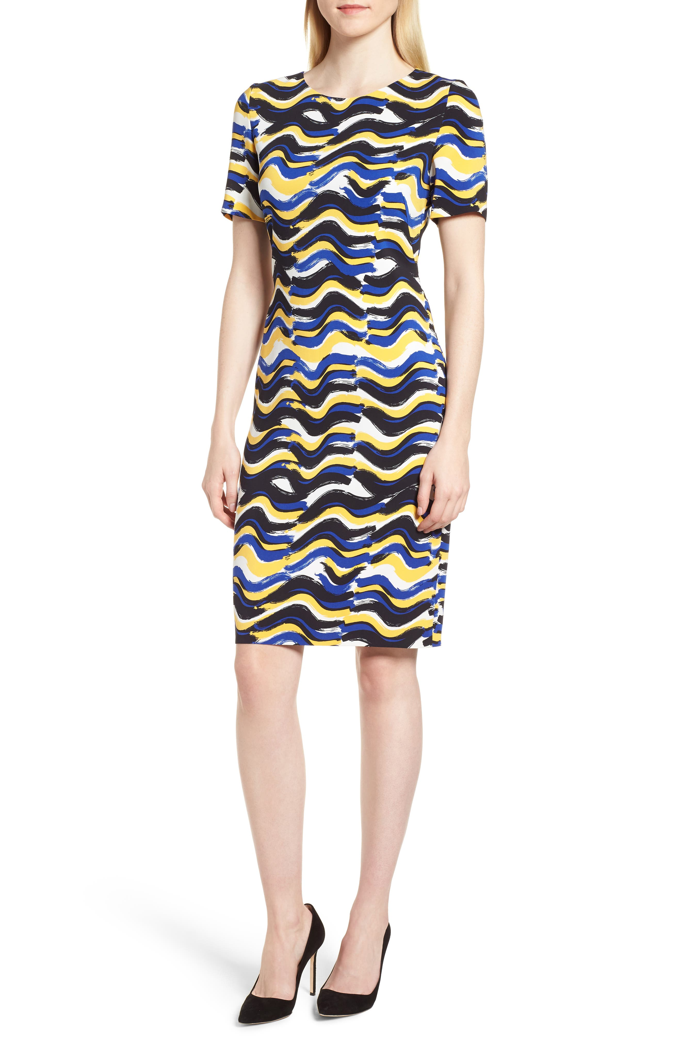 BOSS,                             Dashiba Color Waves Dress,                             Main thumbnail 1, color,                             782